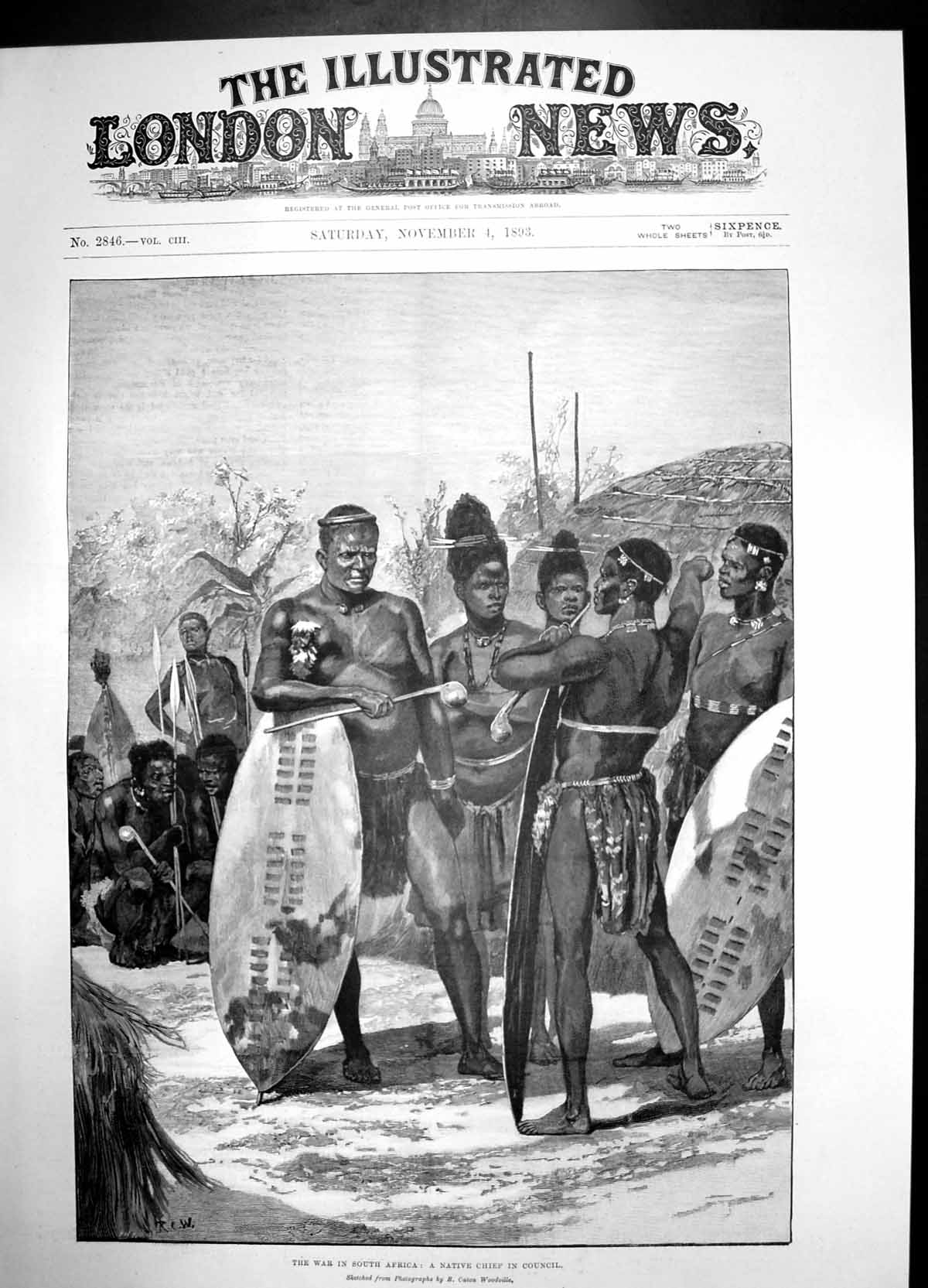 [Print War In South Africa Native Chief Council 1893 Men 929J735 Old Original]