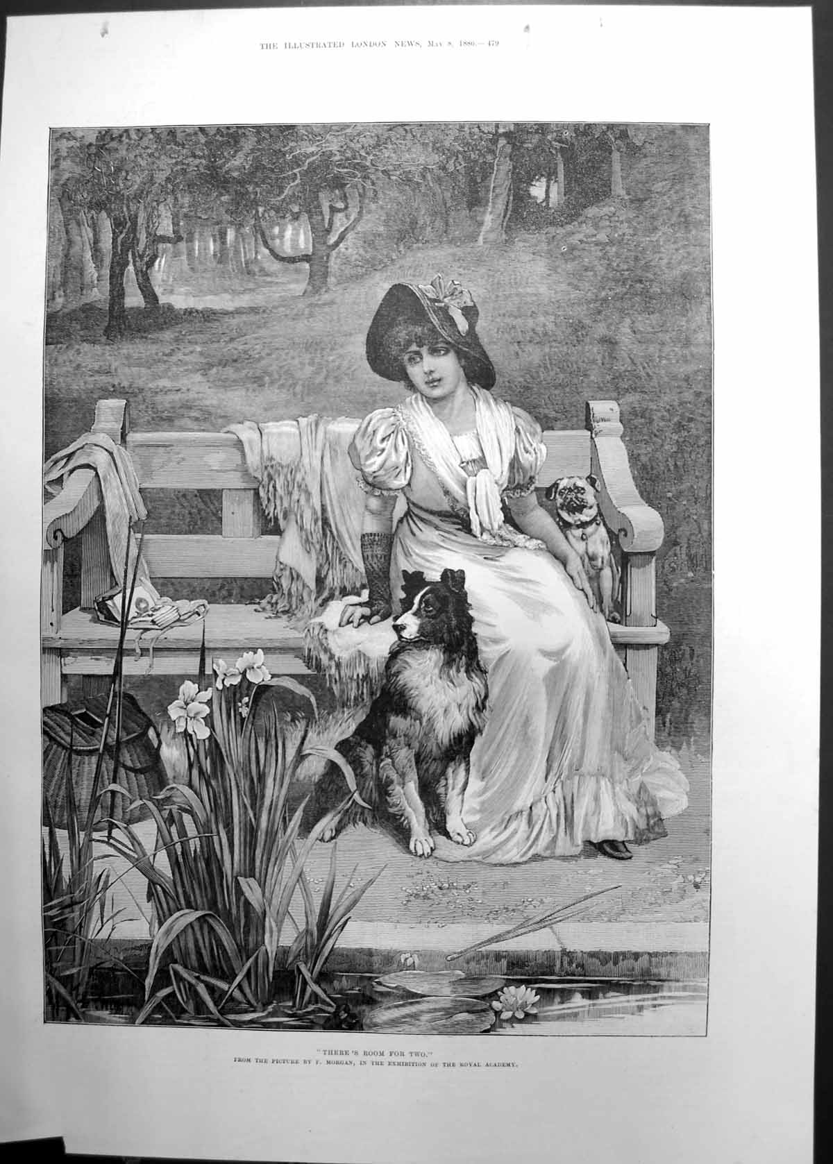 [Print Res Room For Two F Morgan Girl On Bench Wit Dog 1886 103J736 Old Original]