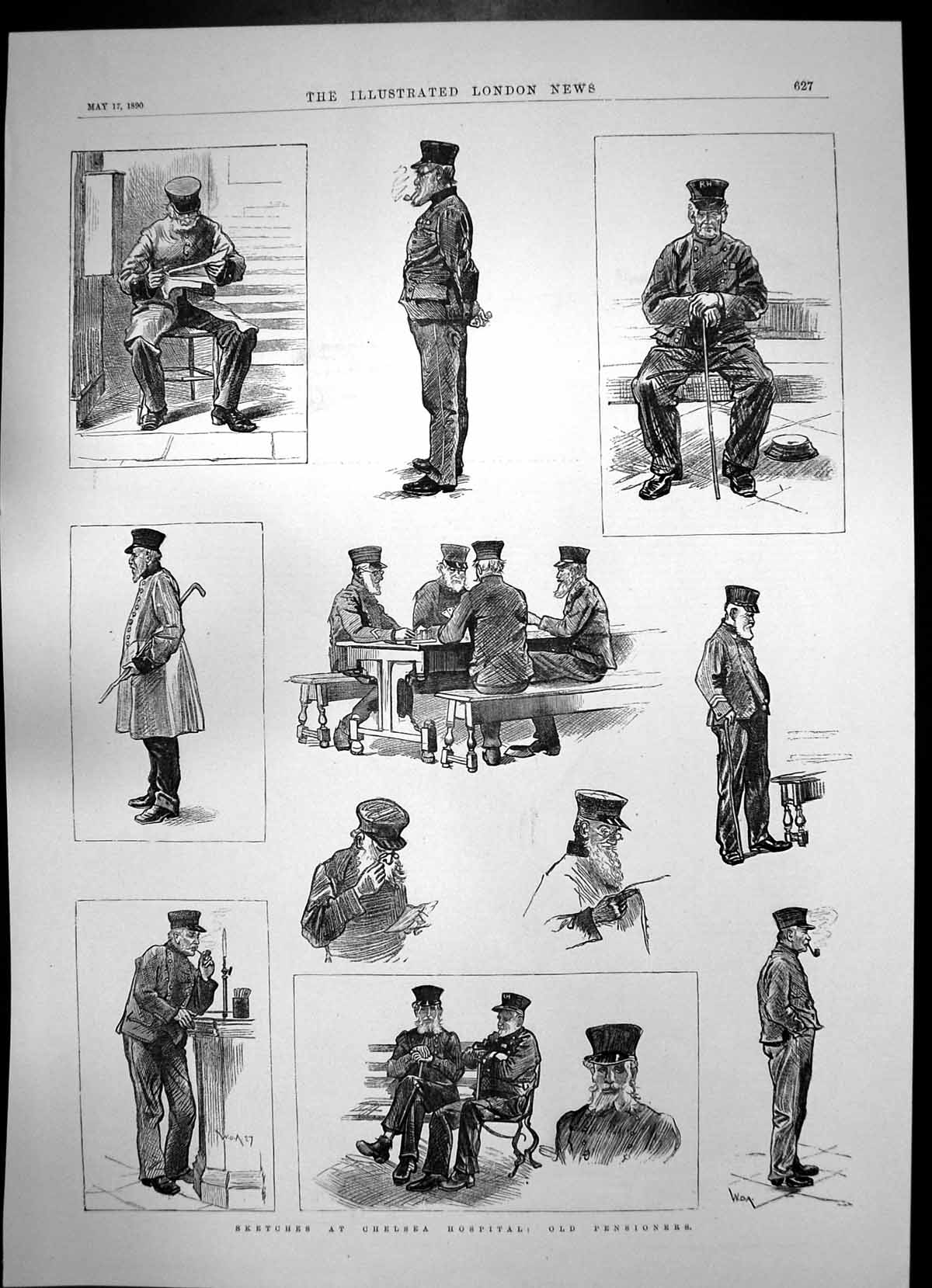 [Print Pensioners Military Hospital Chelsea Hall Front 1890 874J753 Old Original]