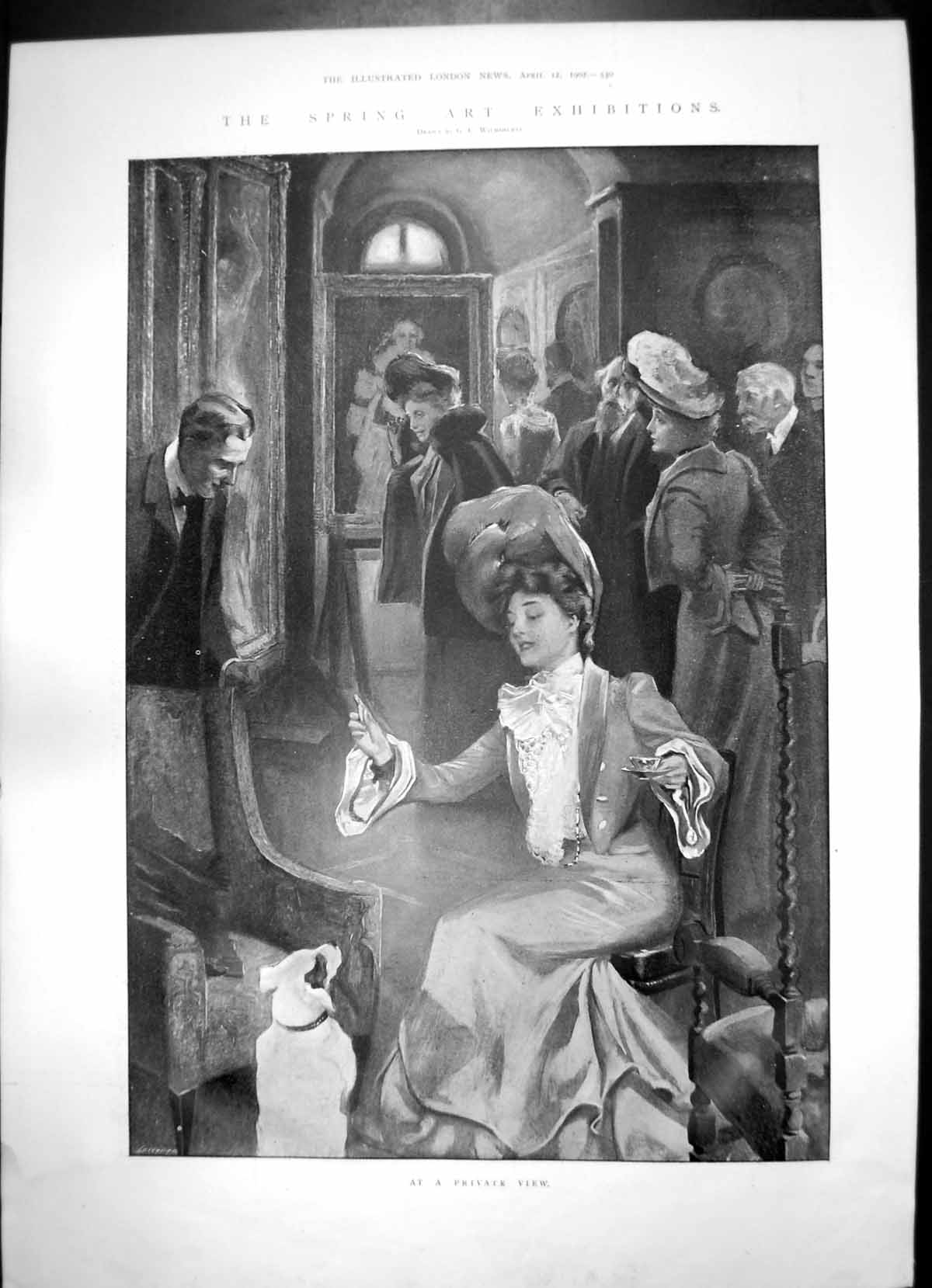 [Print Spring Art Exhibition Private View Lady Dog Sanctuary 1902 894J753 Old Original]