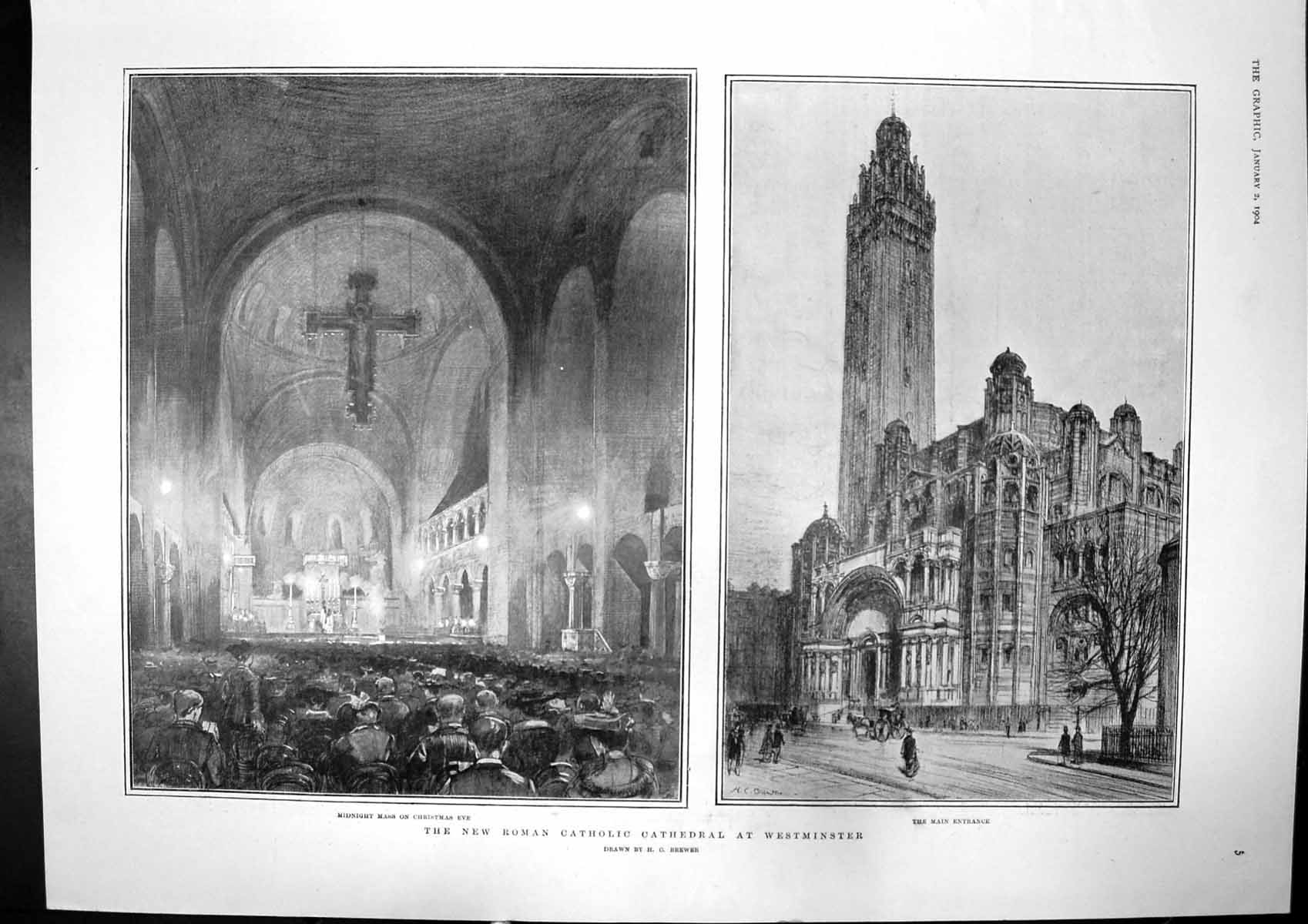 [Print New Catholic Cathedral Westminster Kings Spain Portugal 1904 240J755 Old Original]