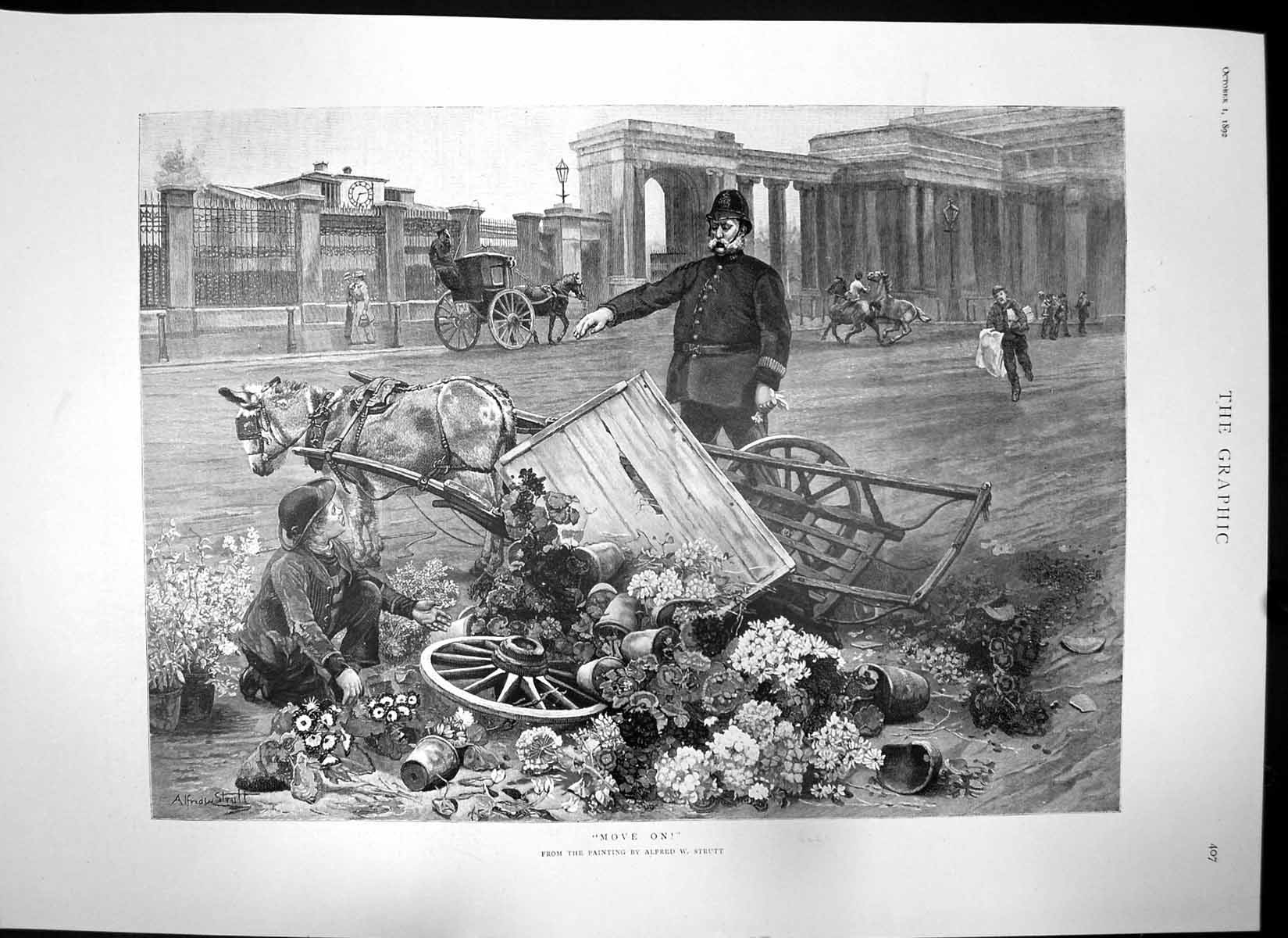 [Print Move On Cart Plants Overturned Don Alfonso Xiii King Spain 1892 533J756 Old Original]