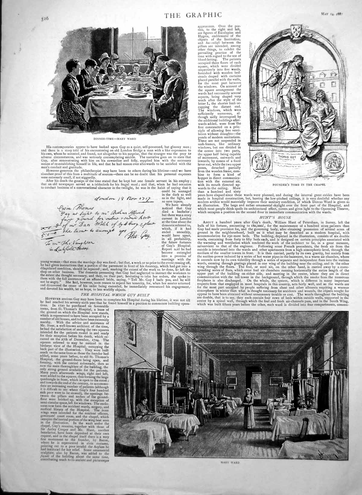[Print Guys Hospital Founders Tomb Thomas Guy Clinical Ward Sister 1887 806J759 Old Original]