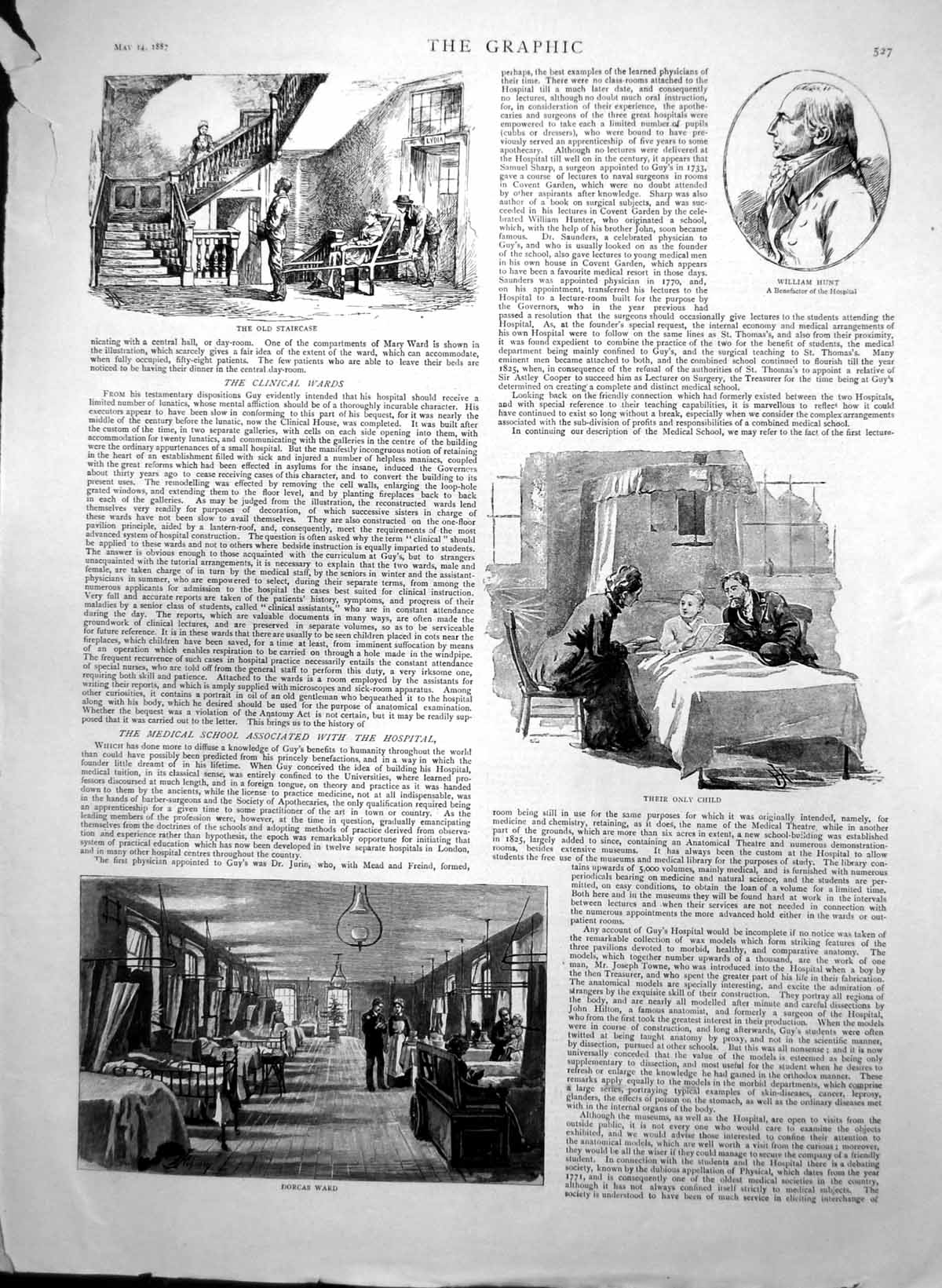 [Print Guys Hospital Dorcas Ward William Hurst Hunts House Surgery 1887 807J759 Old Original]