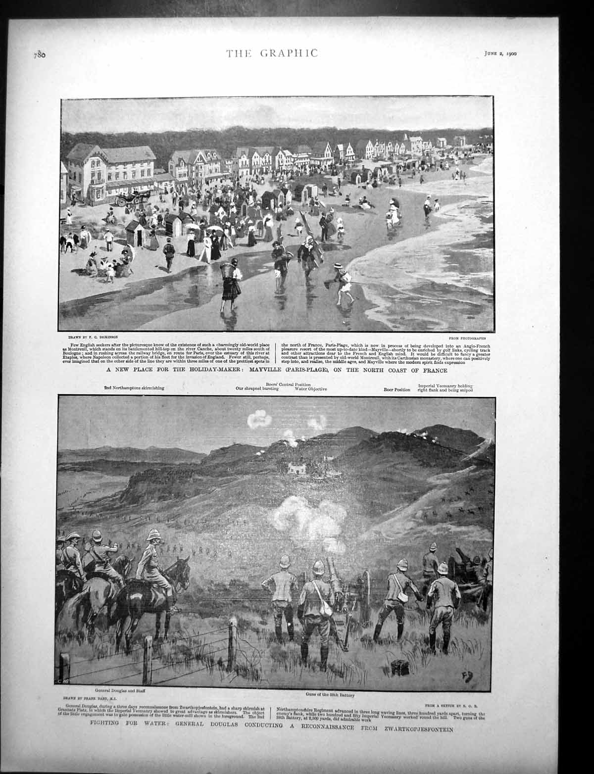 [Print Mayville Paris-Plage Coast France Holidaymakers S Africa 1900 147J764 Old Original]