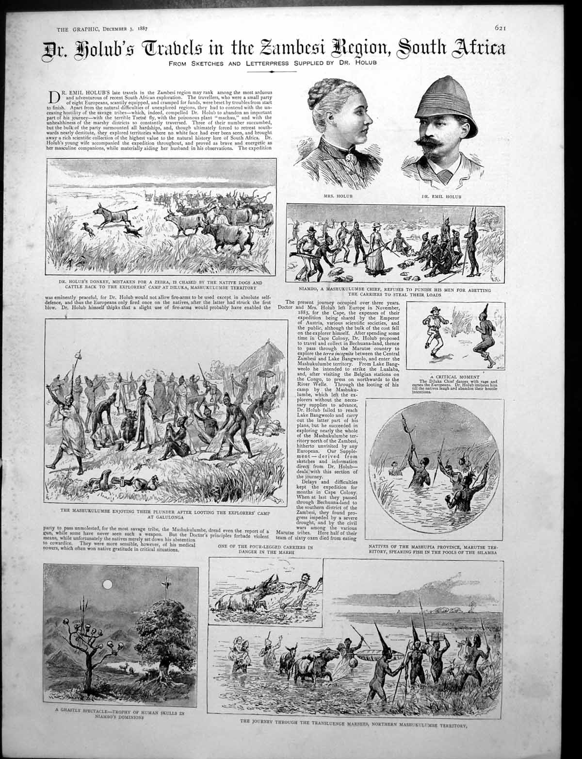 [Print Dr. Holub'S Travels Zambesi Region South Africa Lion Attack 1887 261Rj764 Old Original]