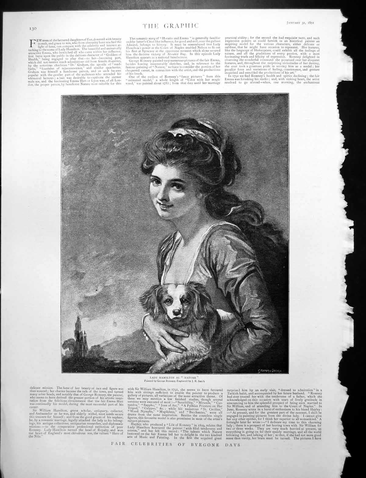 [Print Lady Hamilton As Nature Dog G Romney Two Queens Hawaii 1891 279Rj764 Old Original]
