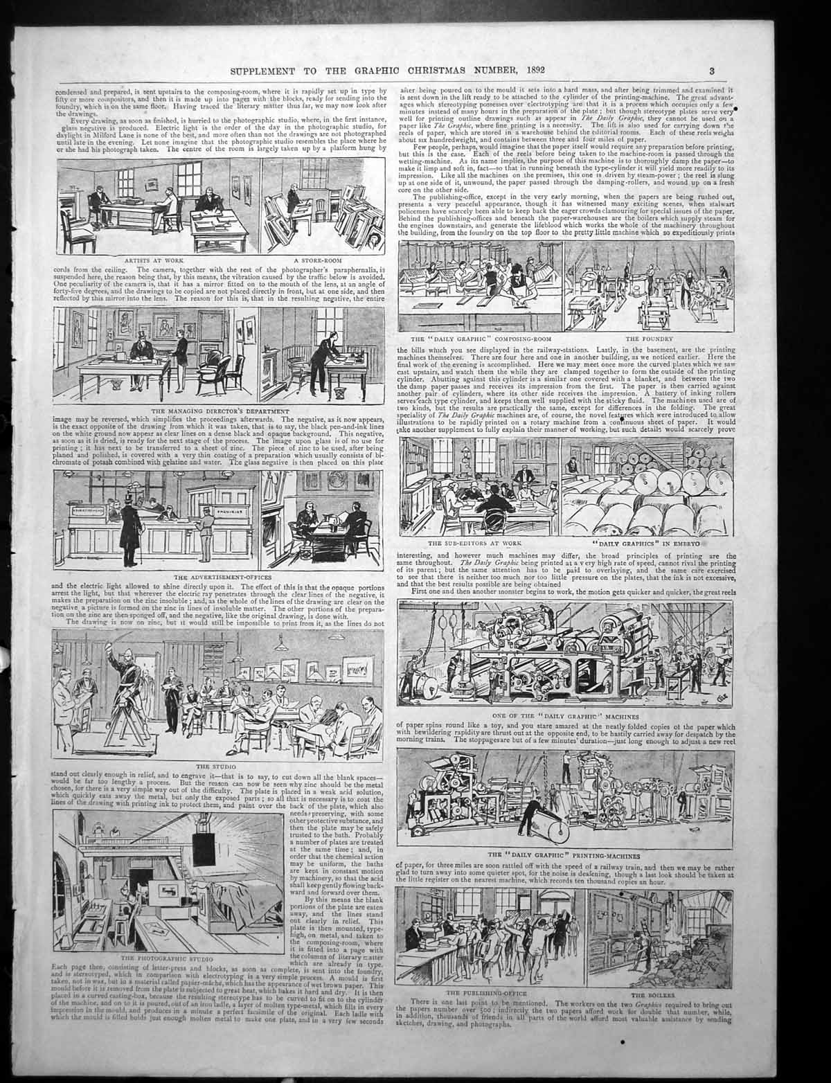 [Print Daily Graphic Composing Room Studio Printing Ad Bread Cutter 1892 369Rj764 Old Original]