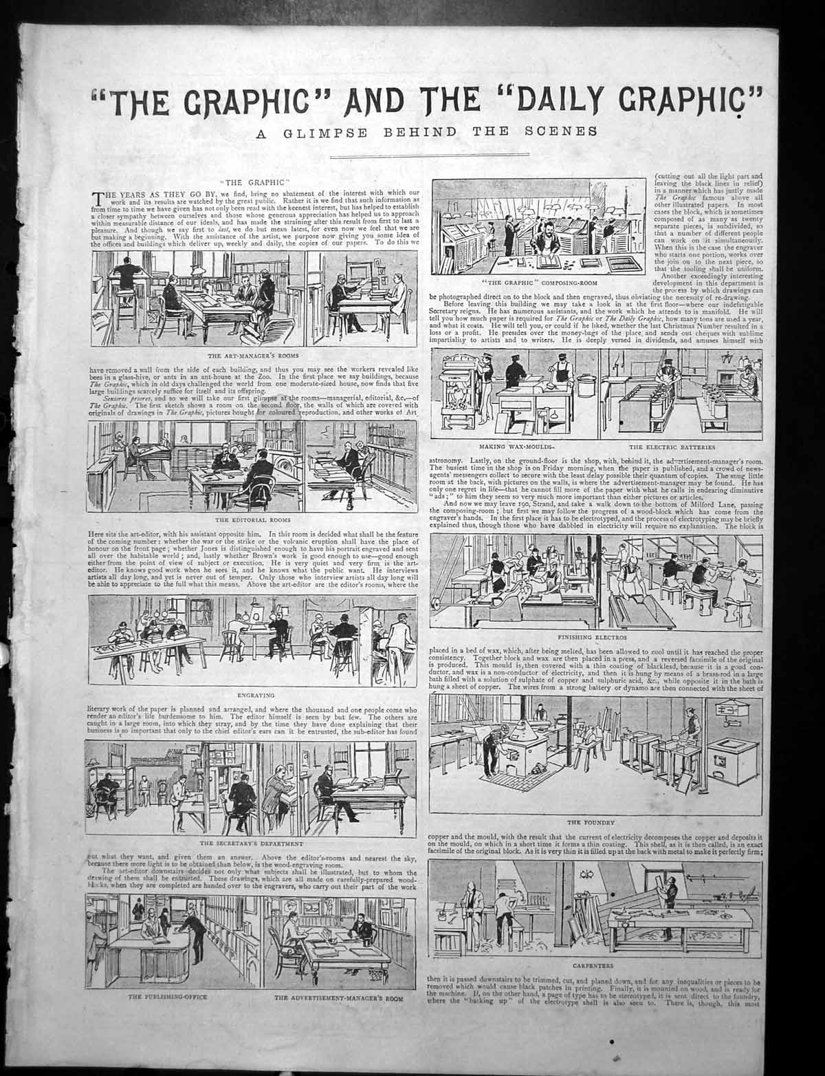 [Print Behind The Scenes Graphic Daily Graphic Printing Machines 1892 370Rj764 Old Original]