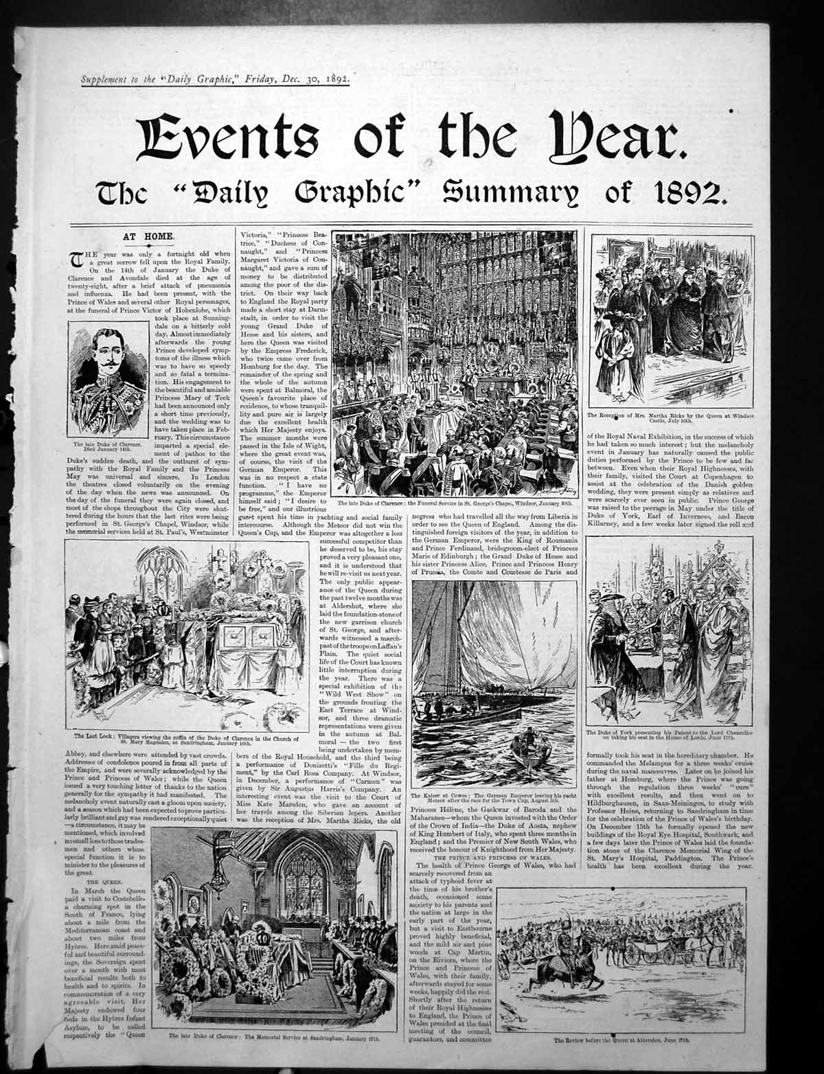 [Print Daily Graphic Summary News Duke Clarence Cabinet Group 1892 371Rj764 Old Original]