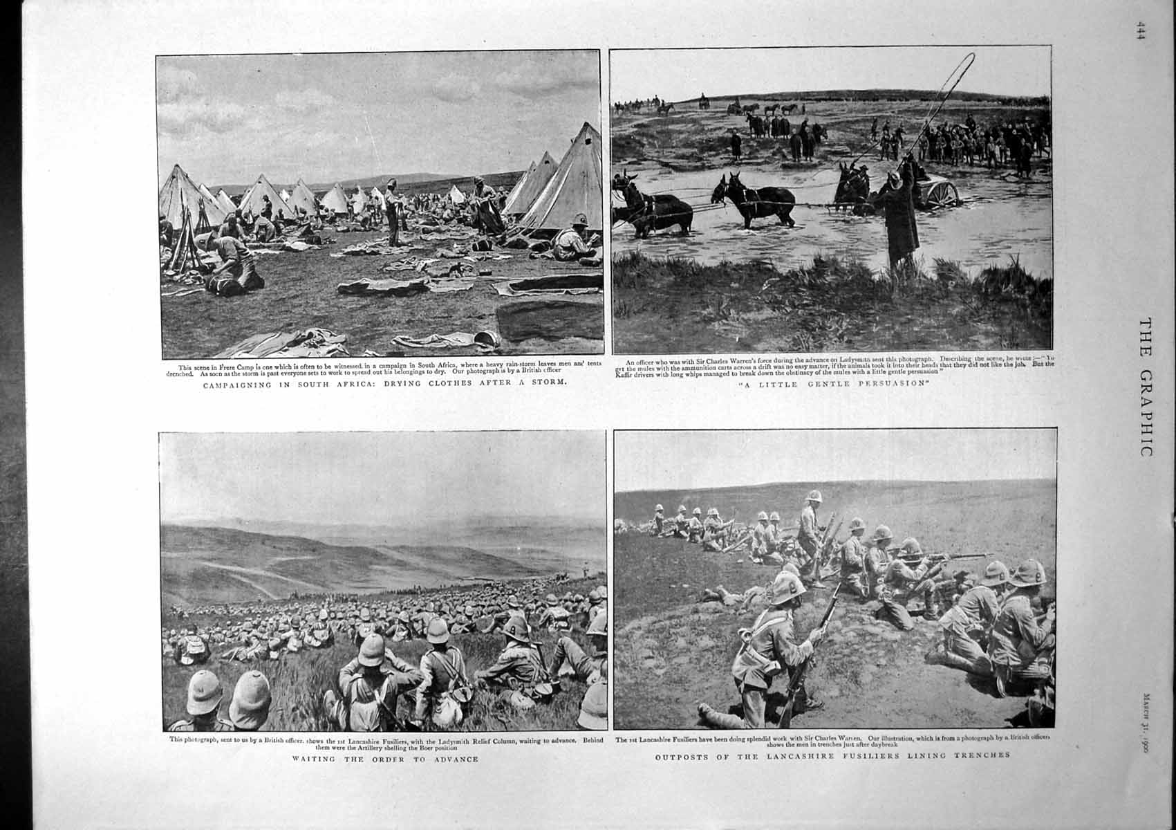 [Print Campaigning South Africa Outposts Lancashire Fusiliers Trench 190 151J765 Old Original]