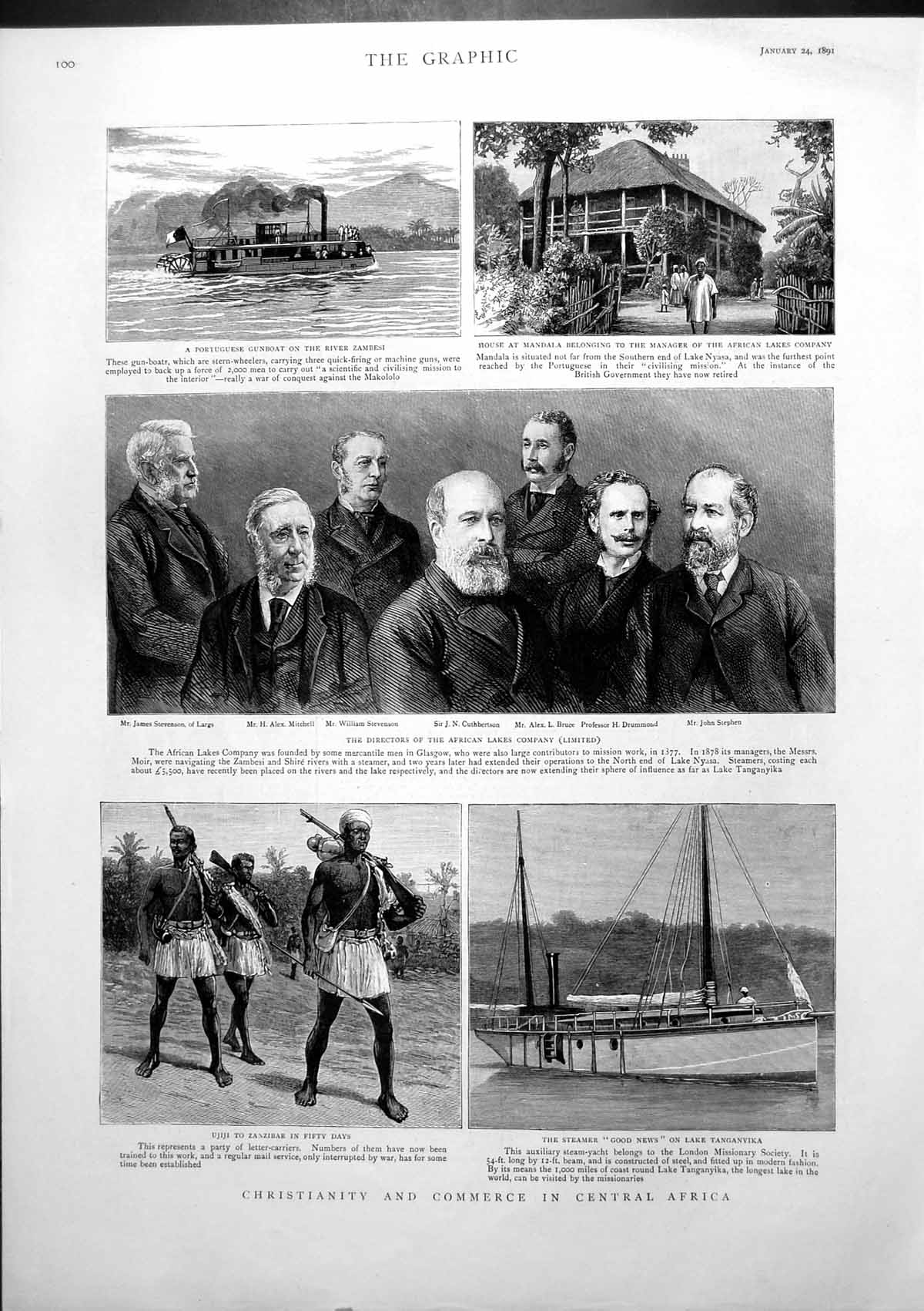 [Print Christianity Commerce Central Africa Scotch Railway Strike 1891 302J765 Old Original]