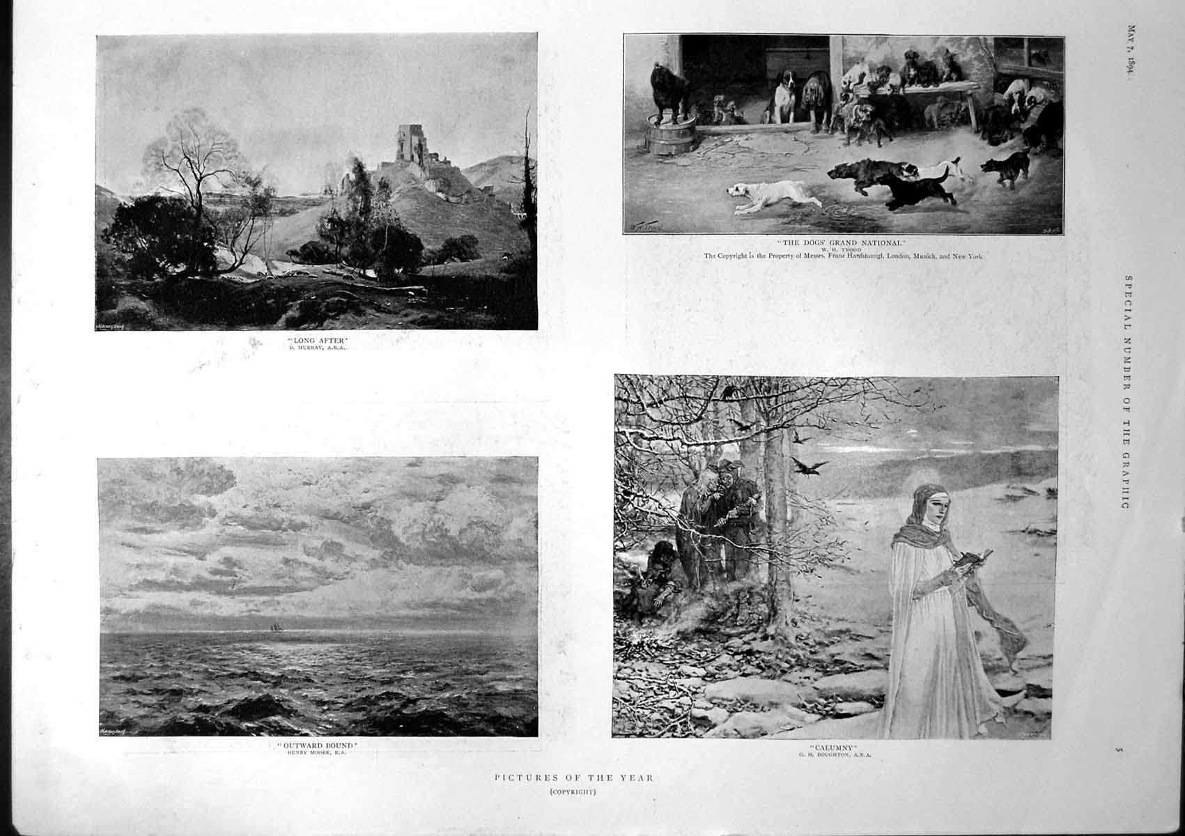 [Print Pictures Dogs Grand National Calumny Mower Bronze Statue 1894 304J765 Old Original]