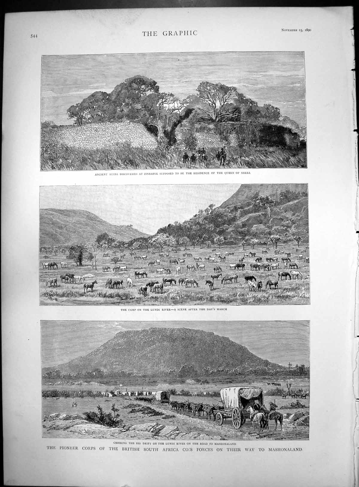 [Print Pioneer Corps British South Africa Co'S Forces Mashonaland 1890 464J769 Old Original]