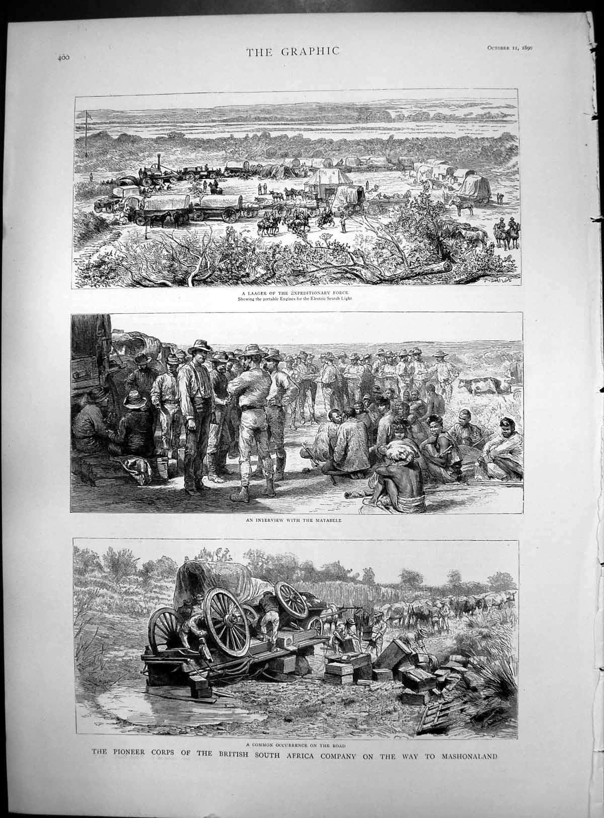 [Print Pioneer Corps British South Africa Wagon Tipping Over Mashonaland 1890 486J769 Old Original]