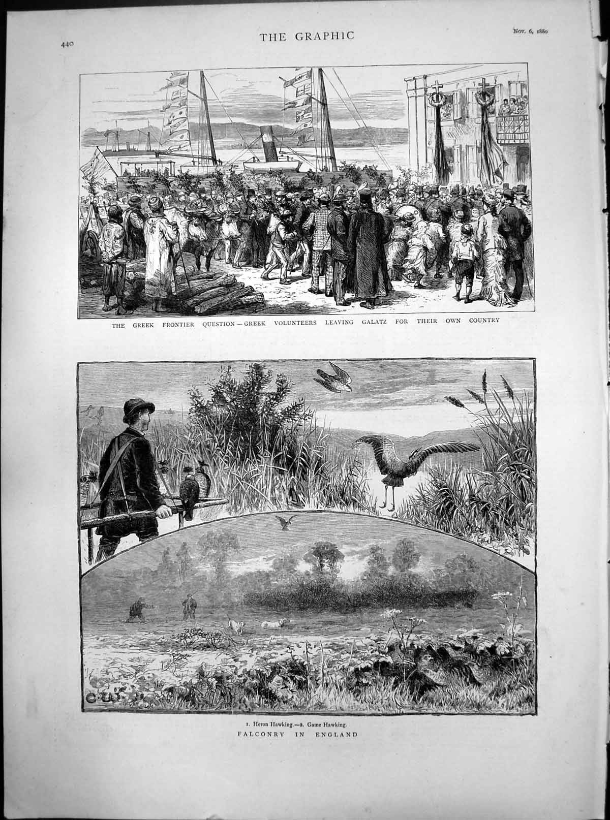 [Print Greek Frontier Question Galatz Falconry England Heron Game 1880 731J770 Old Original]