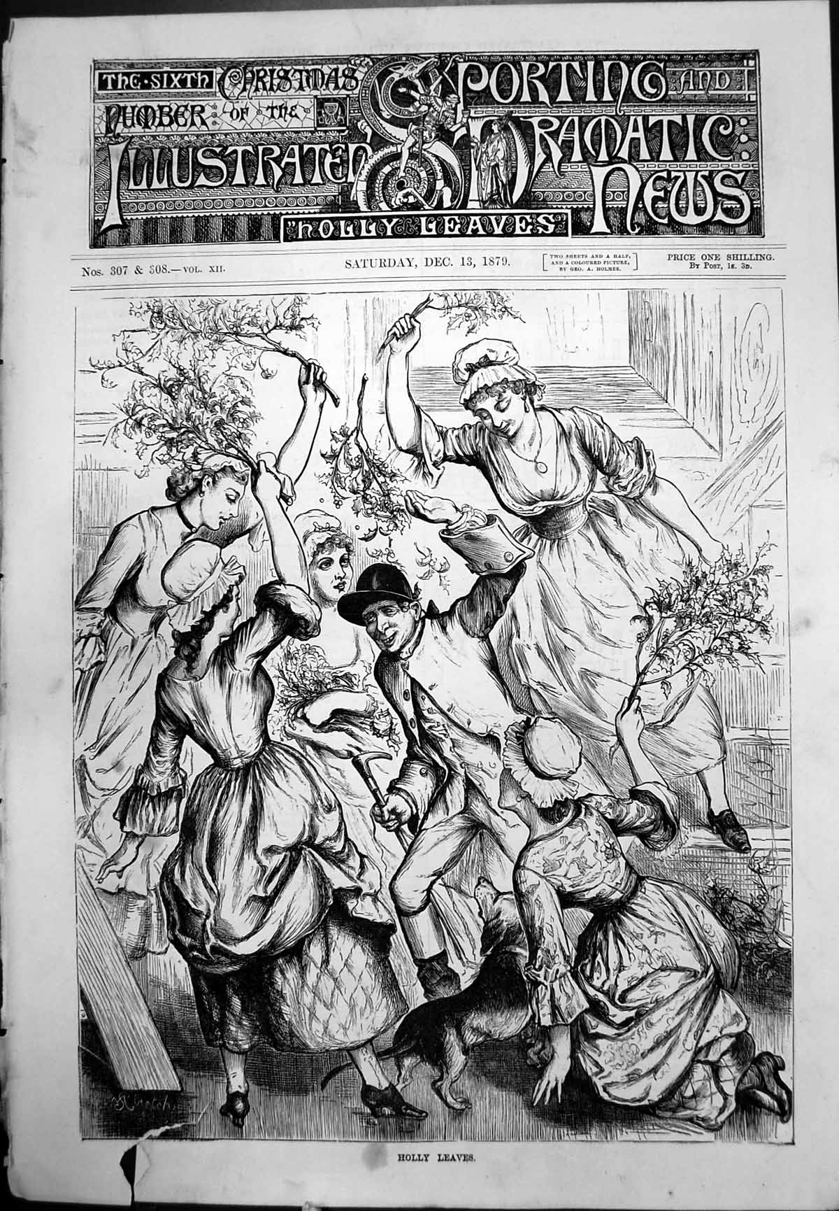 [Print Man Maidens Holly Leaves Dog Frontispiece Adverts Bridal Furniture 1879 232J771 Old Original]