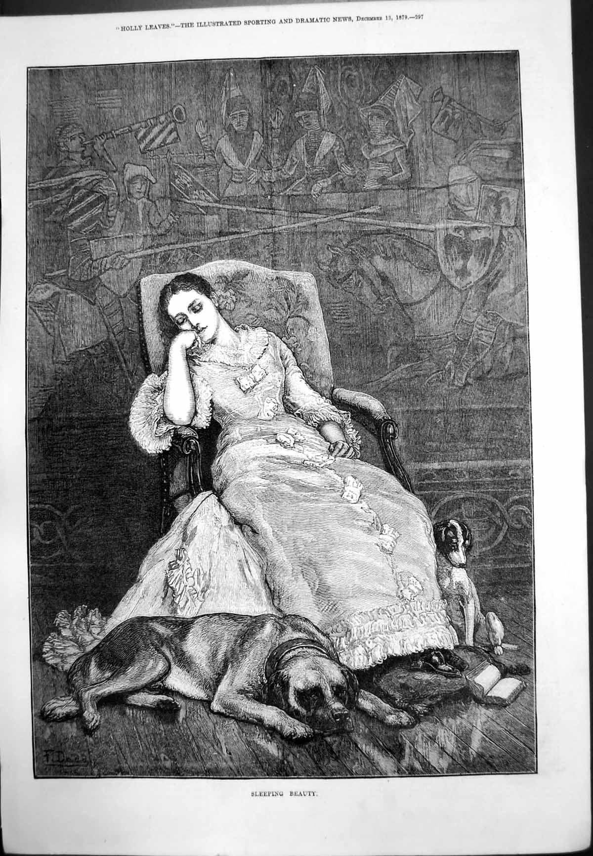 [Print Sleeping Beauty Lady Dozing Chair Dog Feet Hare'S Foot Brushes 1879 233J771 Old Original]