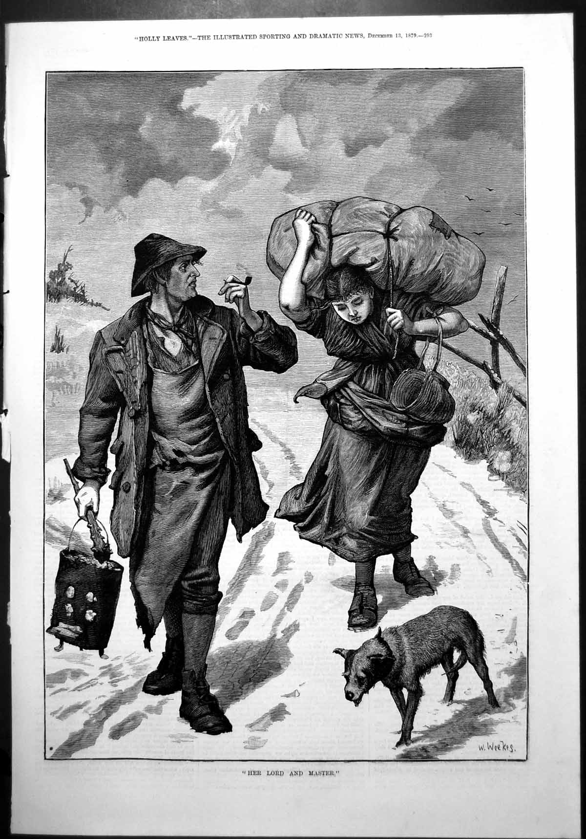 [Print W Weekes Her Lord Master Man Brazier Woman Heavy Load Snow Dog 1879 905J773 Old Original]