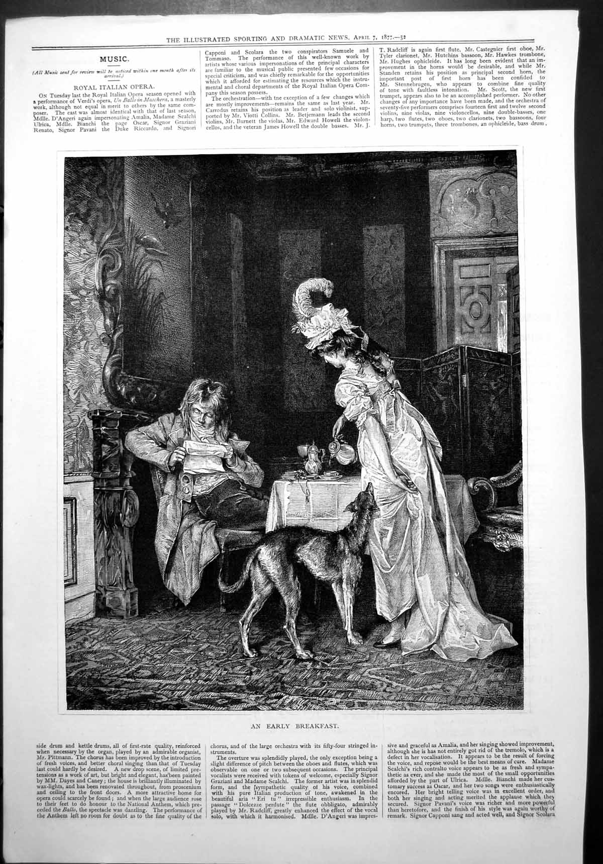 [Print Early Breakfast Lady Pouring Drink Man Reading Paper Dog Waiting 568J775 Old Original]
