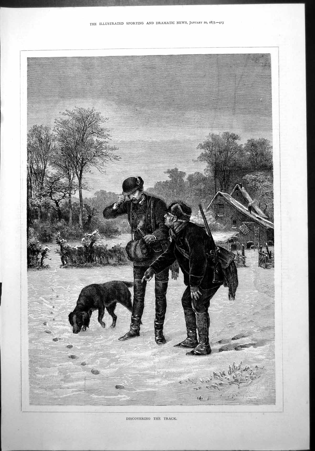 [Print Discovering Track Dog Sniffing Trail Snow Winter Hunters Boots 18 610J775 Old Original]