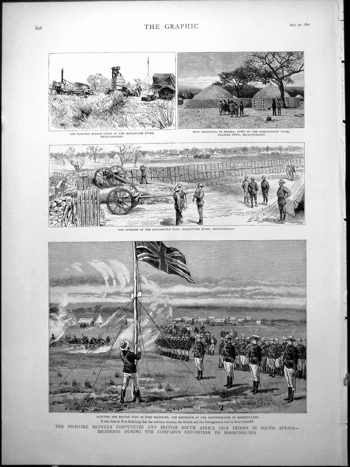 [Print Mashonaland Fighting Portuguese British South Africa Camps 1891 821J776 Old Original]