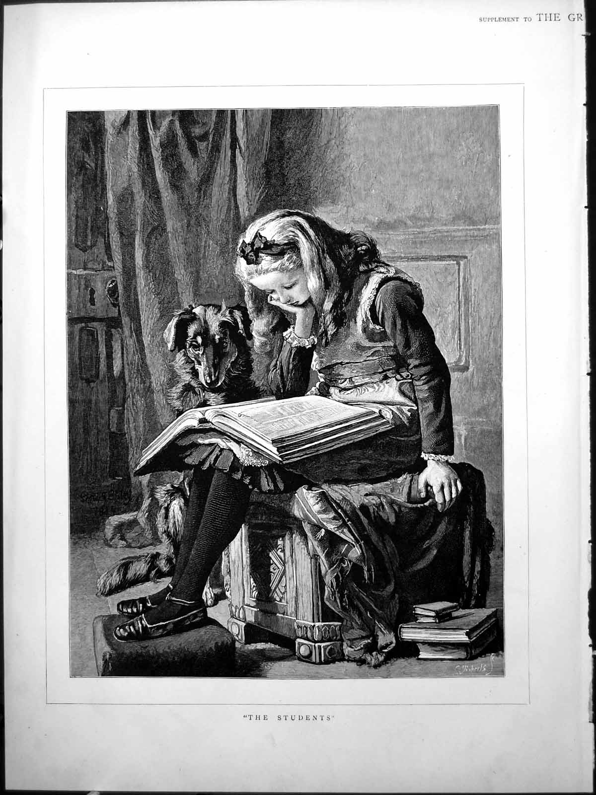 [Print �The Students� Girl Studying Book Dog Watching Carved Stool 1884 897J776 Old Original]
