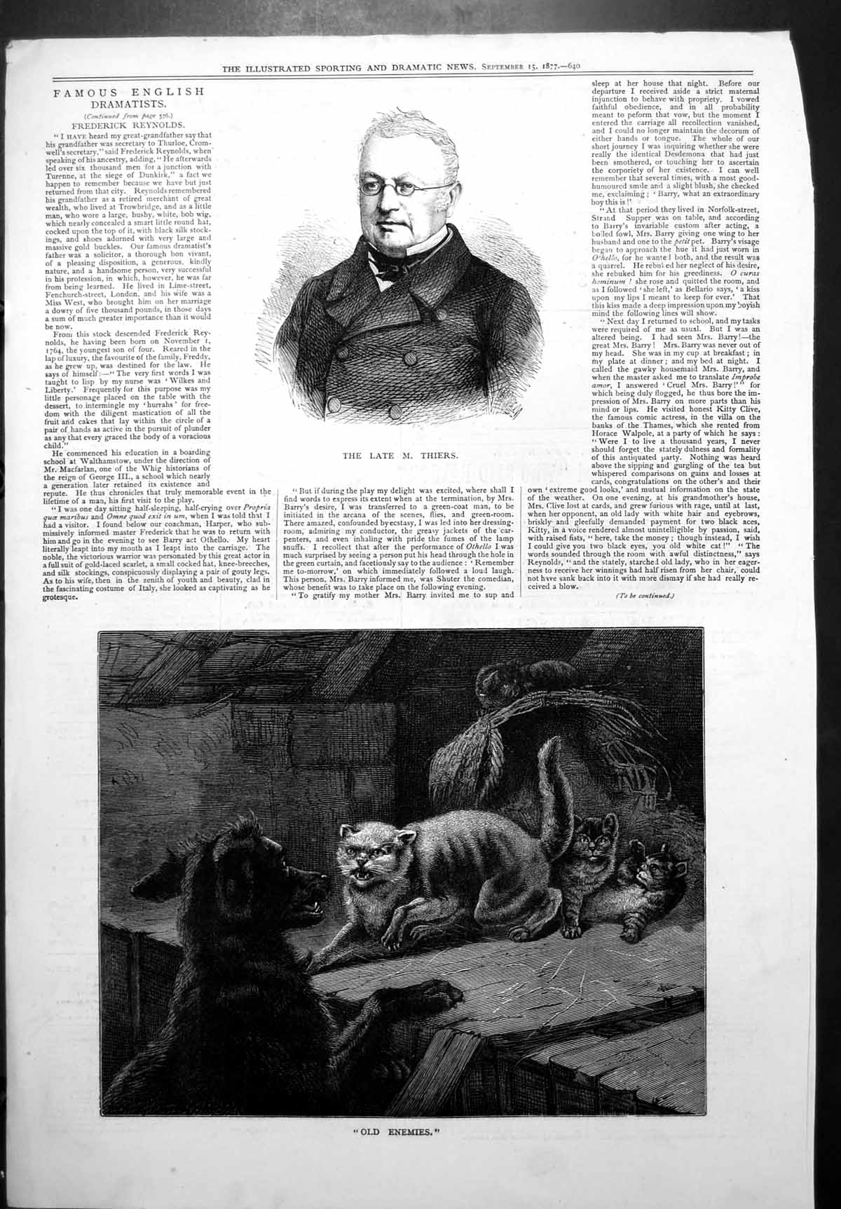 [Print Late M Adolphe Thiers French Politician Enemies Wild Cat Dog 1877 616J778 Old Original]