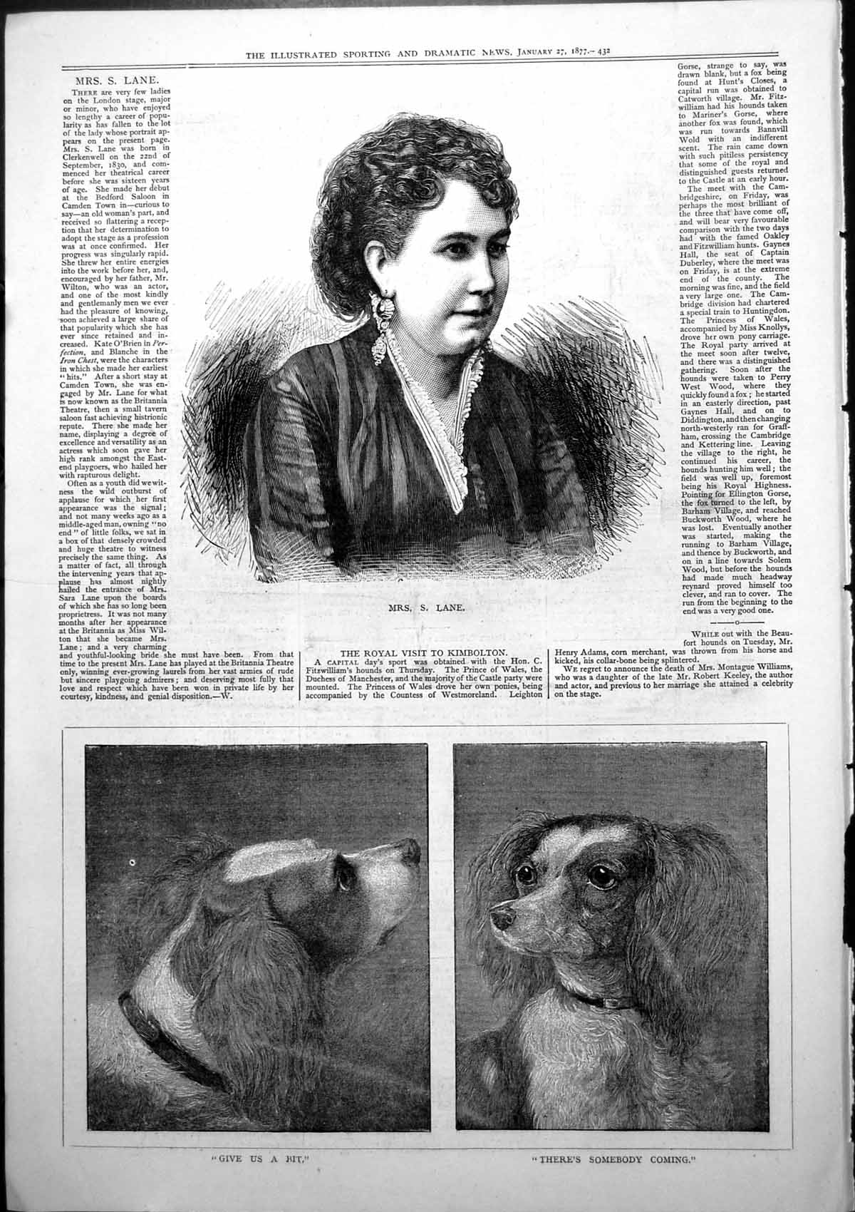 [Print Mrs S Lane Actress Dogs Give Us Bit Theres Somebody Coming 1877 760J779 Old Original]