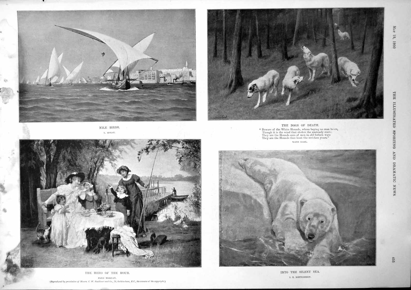 [Print Nile Birds Dogs Death Into Silent Sea Summer 1900 Damaged 845J779 Old Original]