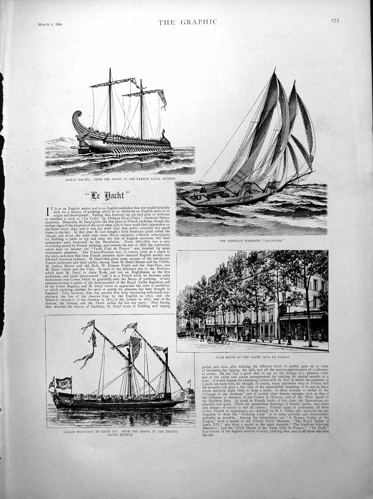 [Print Yacht Roman Galley American Schooner Sport Hunt South Africa 1891 180J780 Old Original]
