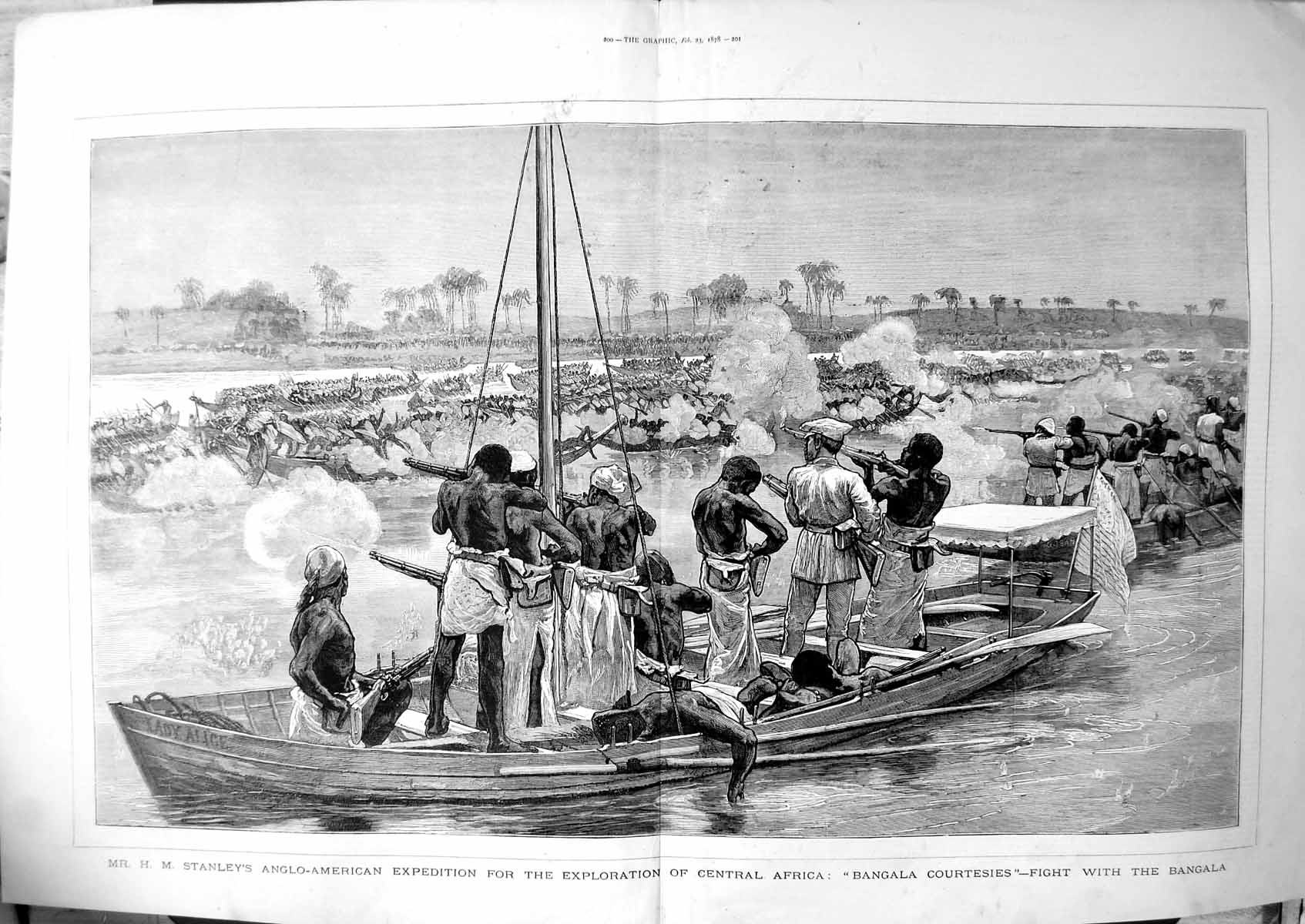 [Print Hm Stanleys Expedition Exploration Central Africa Bangala 1878 107TJ781 Old Original]