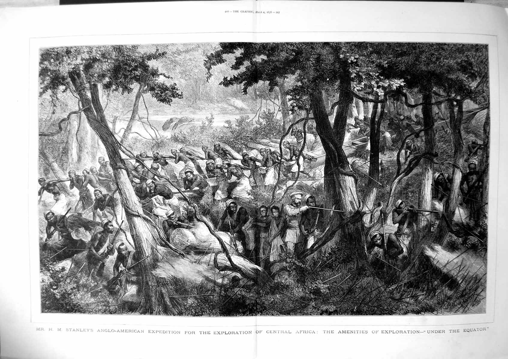 [Print Hm Stanleys Expedition Exploration Central Africa Spears 1878 111TJ781 Old Original]