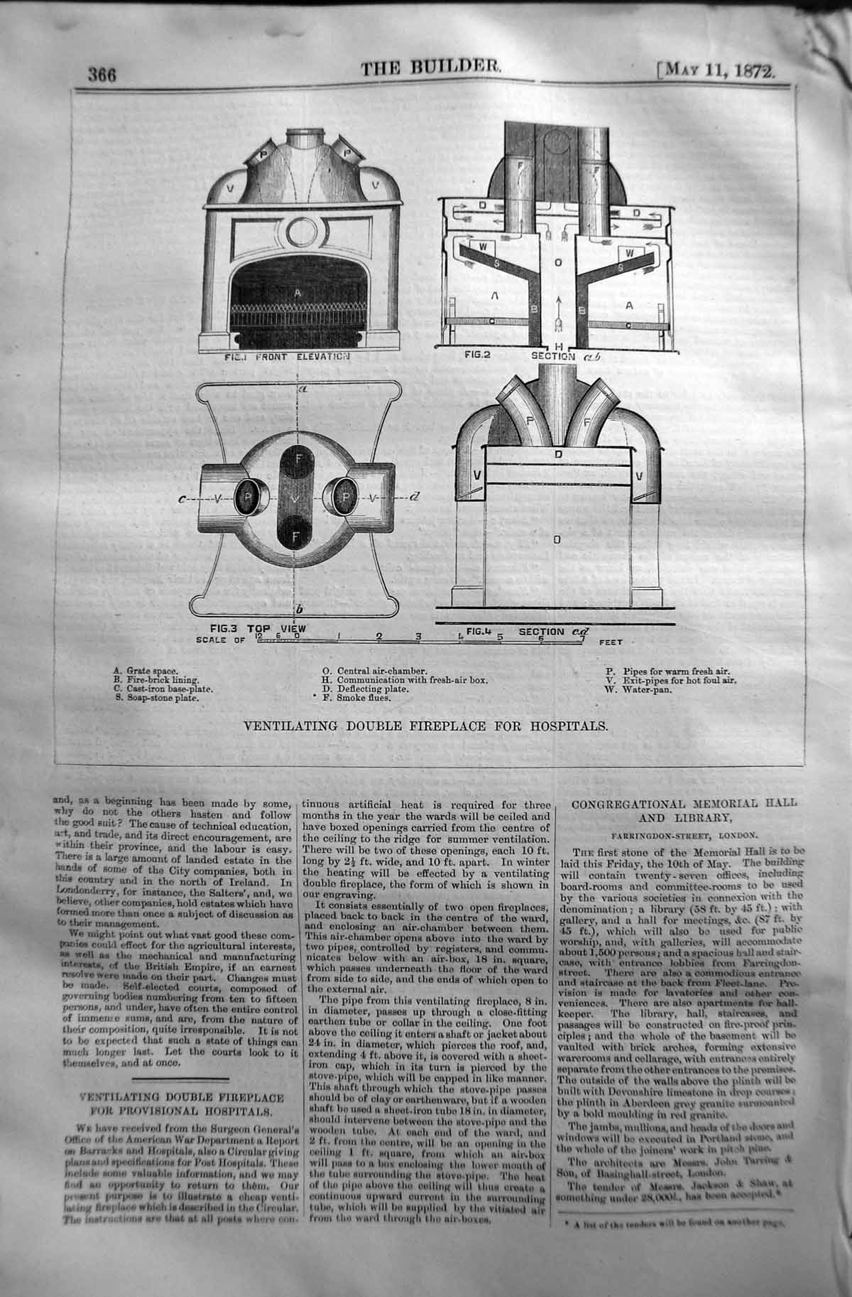 [Print 1872 Builder Ventilating Double Fireplace Hospitals Air-Chamber 366L130 Old Original]