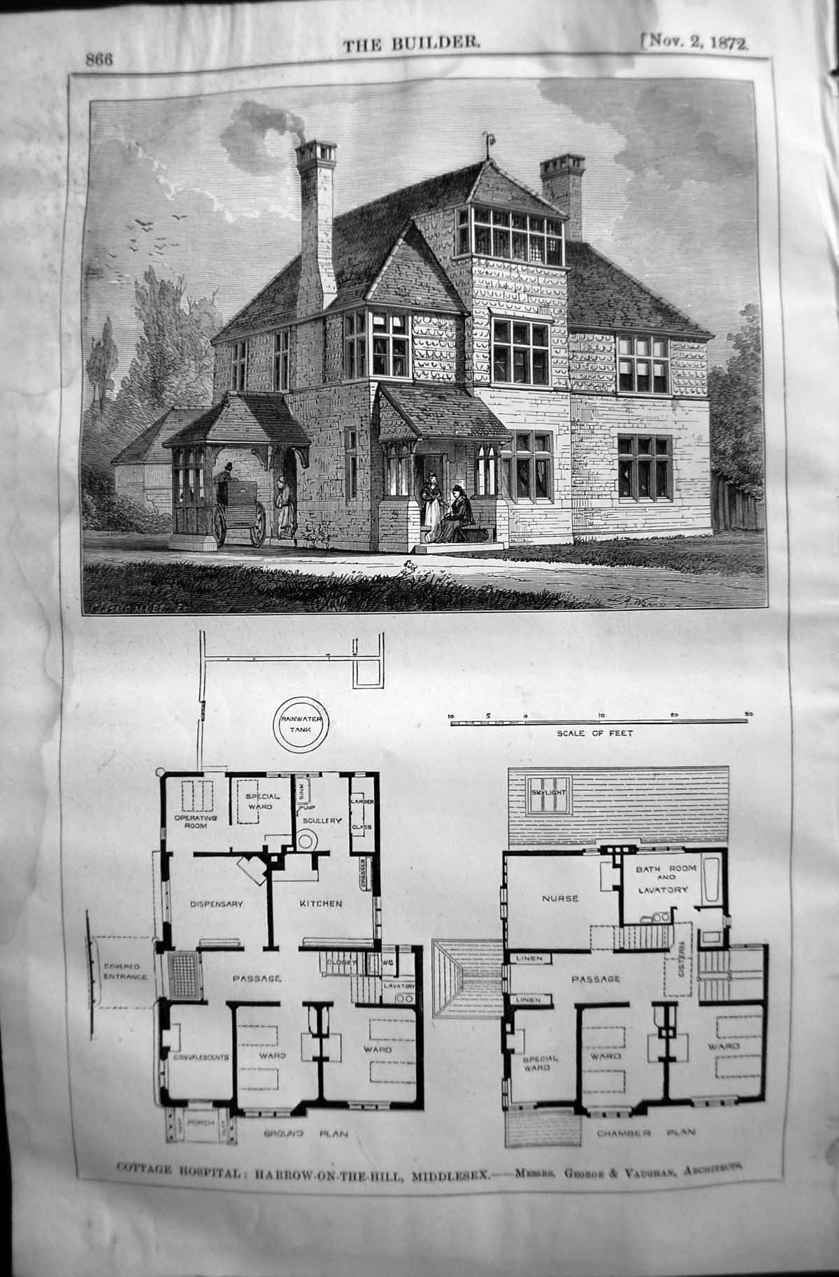 [Print 1872 Builder Cottage Hospital Harrow-On-The-Hill Middlesex George Vaughan Old Original]