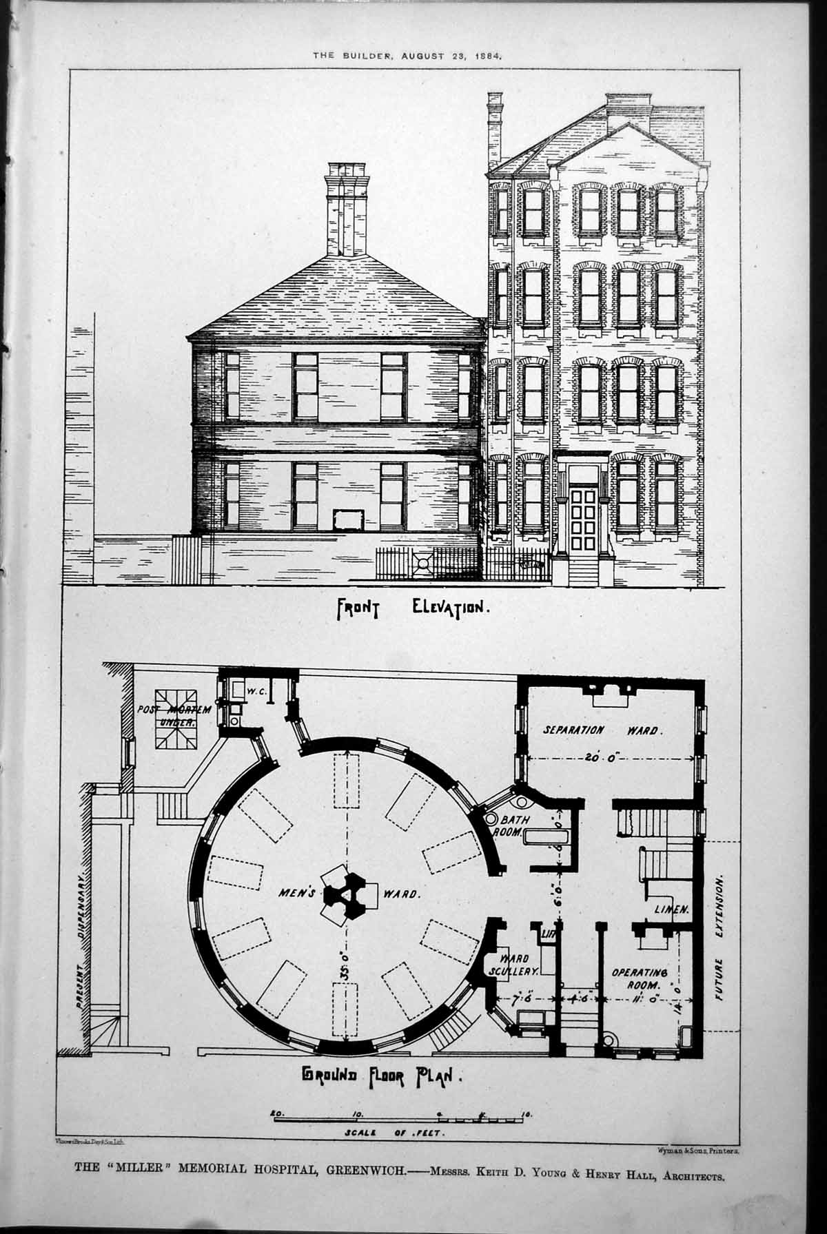 [Print Miller Memorial Hospital Greenwich Plans K Young H Hall Arch 1884 939L147 Old Original]