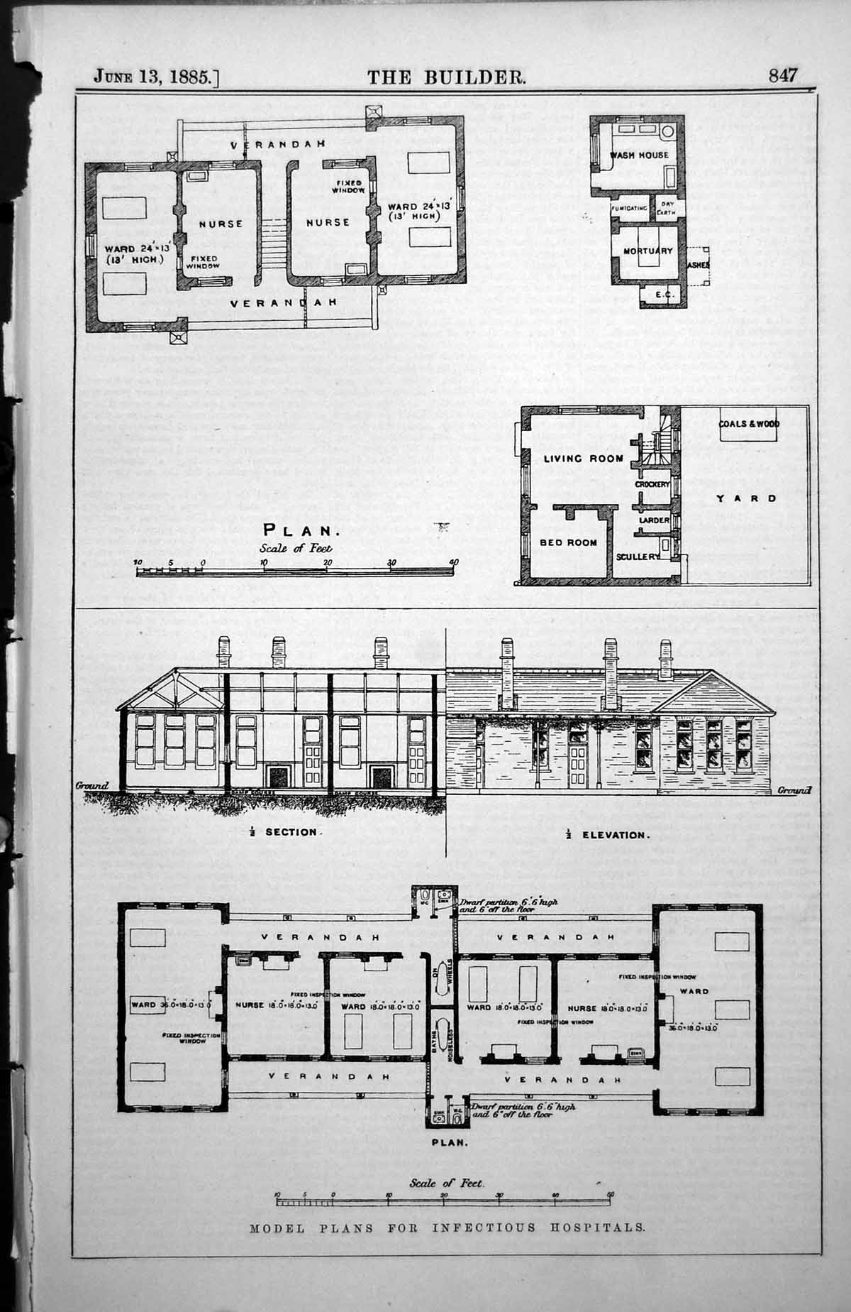 [Print Model Plans For Infectious Hospitals Section Elevation Plan 1885 847L148 Old Original]