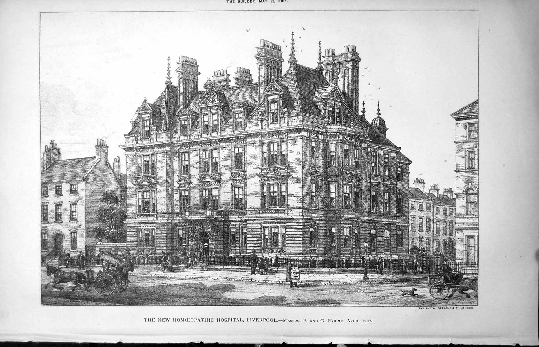 [Print New Homoeopathic Hospital Liverpool F & G Holme Architects 1886 1061L150 Old Original]