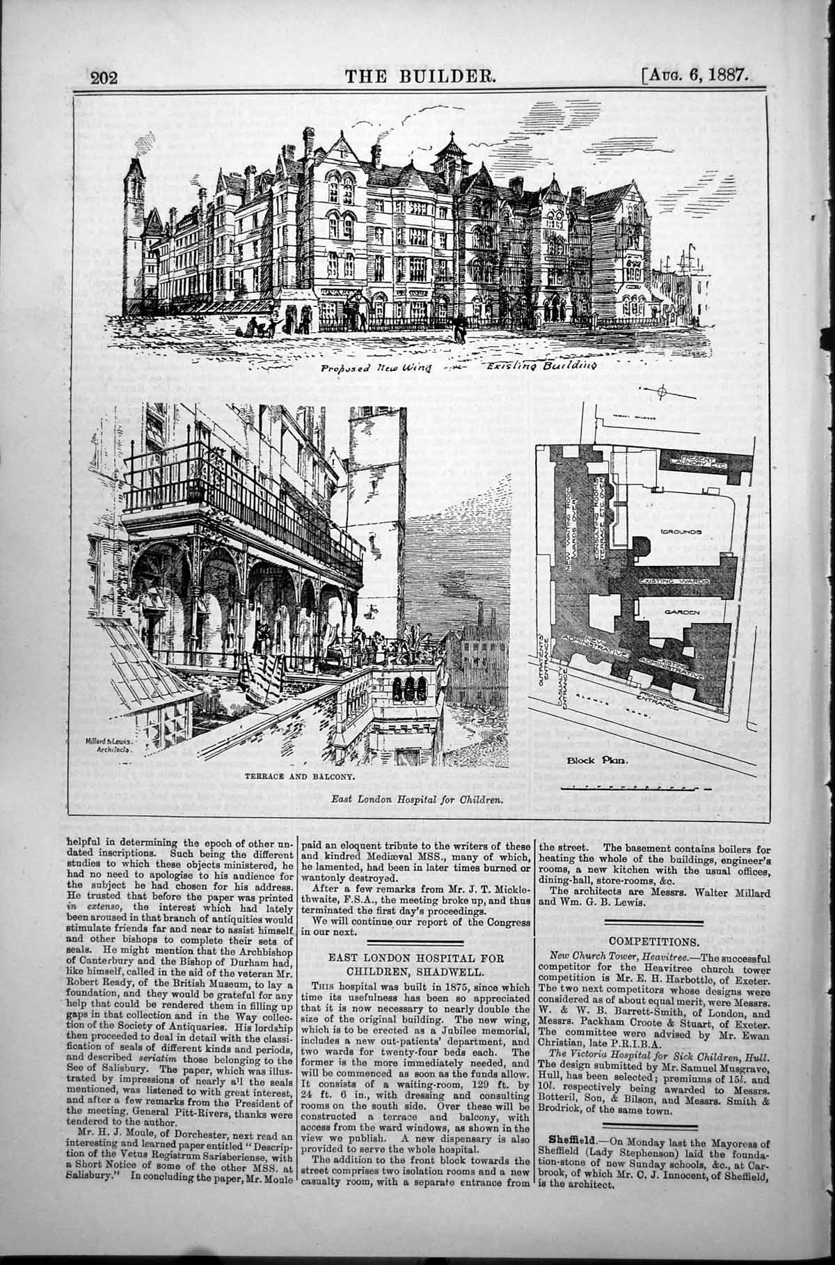 [Print East London Hospital Children Proposed New Wing Terrace 1887 202L153 Old Original]