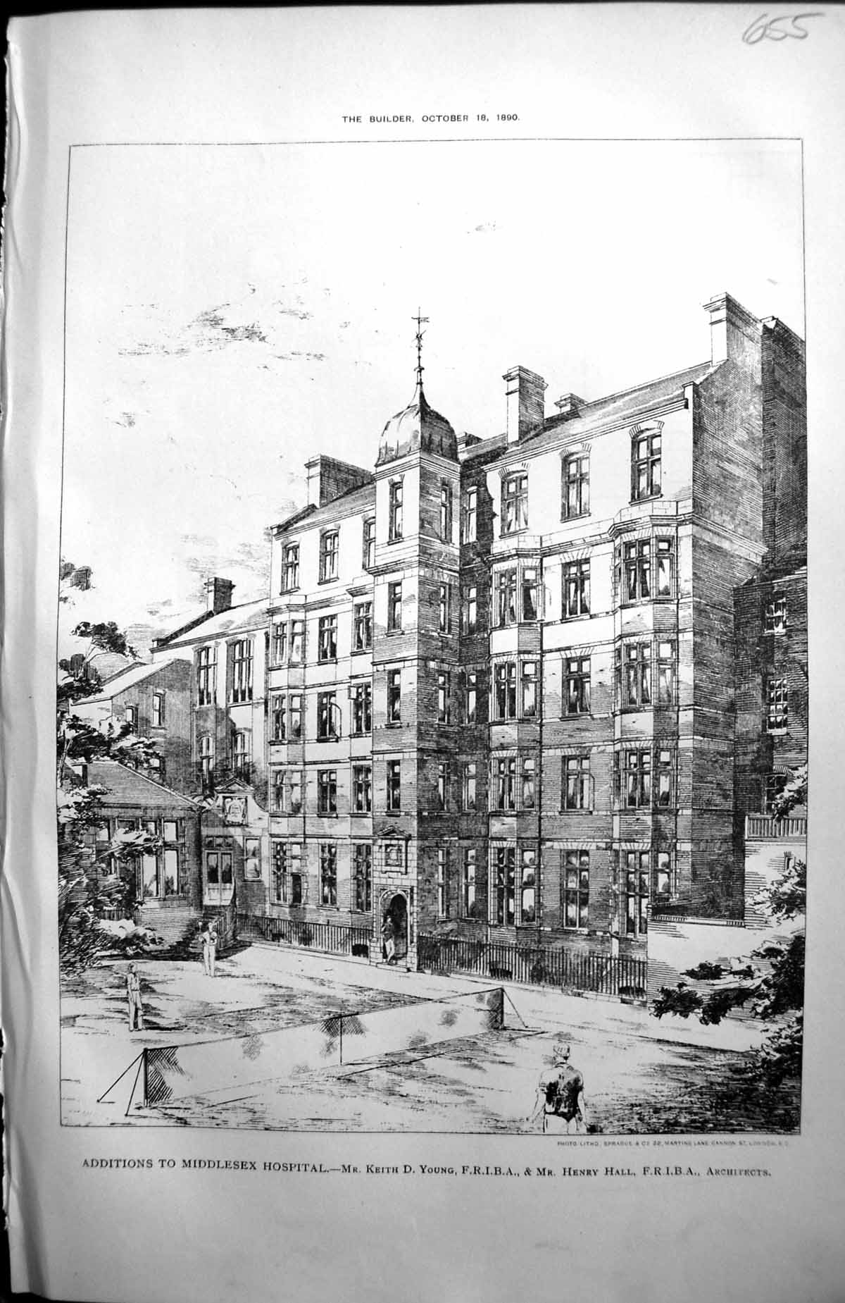 [Print Middlesex Hospital Additions Keith Young Henry Hall Architecture 655L159 Old Original]