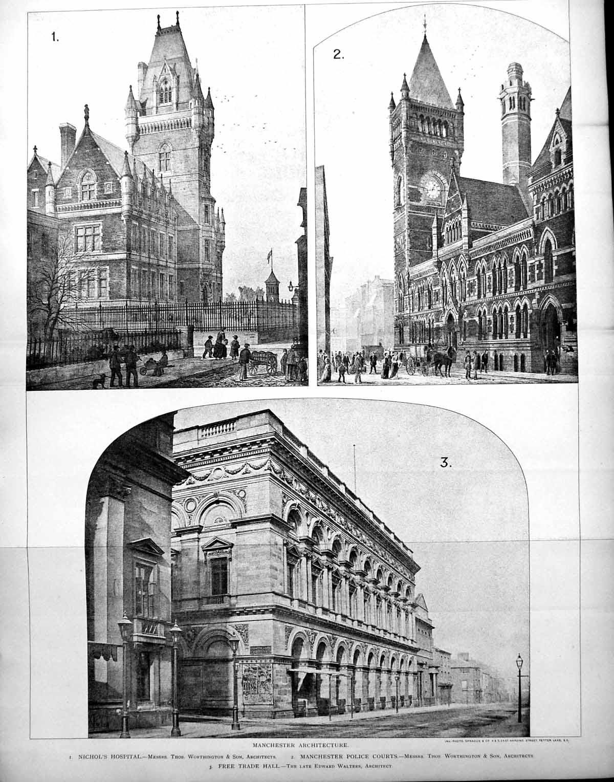 [Print Manchester Police Courts Nichols Hospital Free Trade Hall Walters 1896 747Tl171 Old Original]