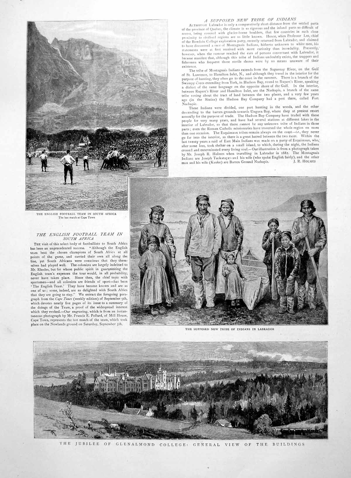 [Print Prints Labrador Tribe English Footbal South Africa Glenalmond 1891 388M009 Old Original]