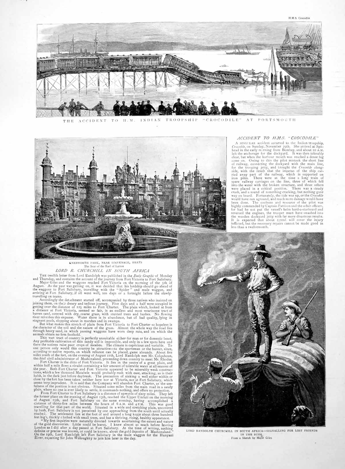 [Print Prints Accident Hms Crocodile R Churchill S Africa Gladstone 1891 664M009 Old Original]