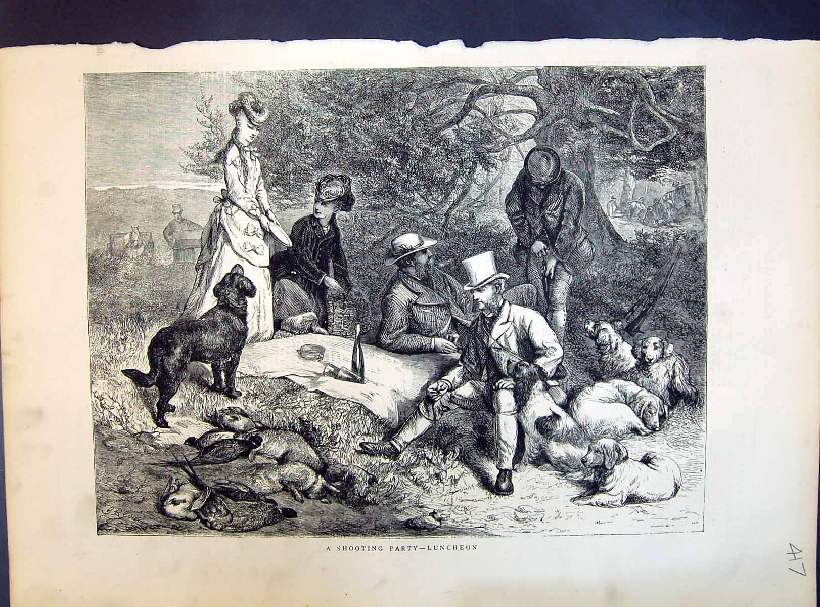 [Print 1871 Shooting Party Luncheon Camp Picnic Hunting Hounds Dogs 417M104 Old Original]