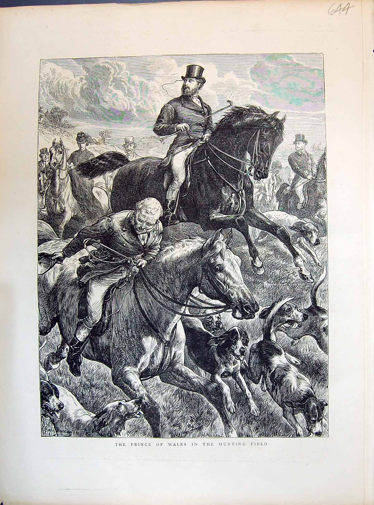 [Print 1871 Prince Wales Hunting Field Sport Horses Hounds Dogs 644M104 Old Original]