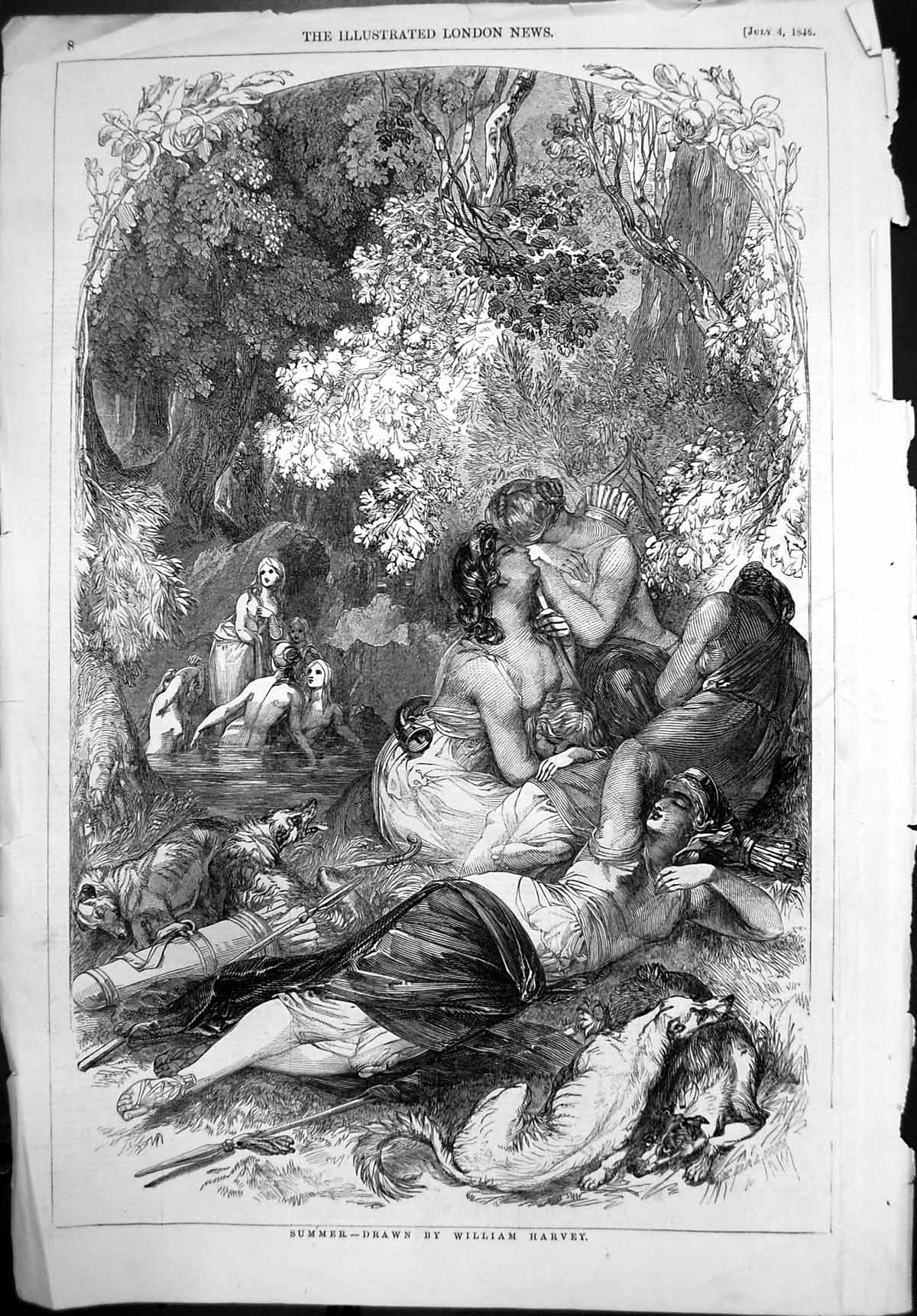 [Print Summer William Harvey Relaxing Water Kissing Dogs 1846 008P109 Old Original]