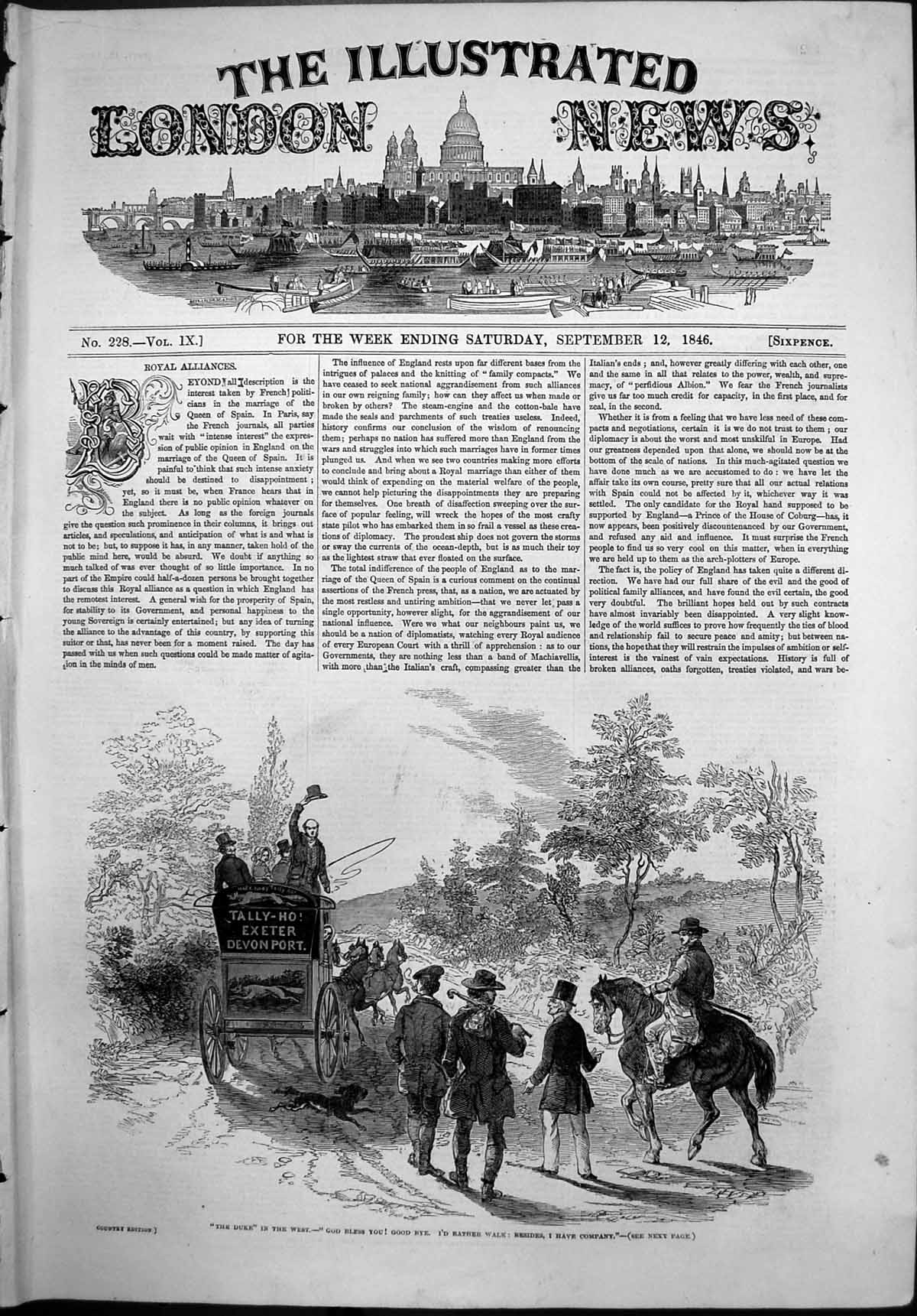 [Print Duke West Tally Ho Exeter Devon Carriage Walkers Horse Dog 1846 161P109 Old Original]