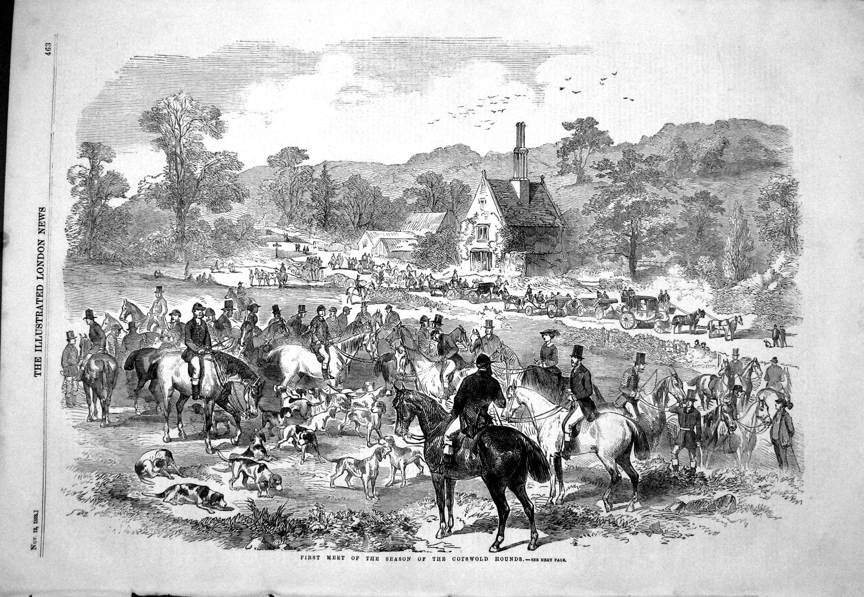 [Print 1858 First Meet Season CotswHounds Dogs Horses Hunting Horses 463P133 Old Original]
