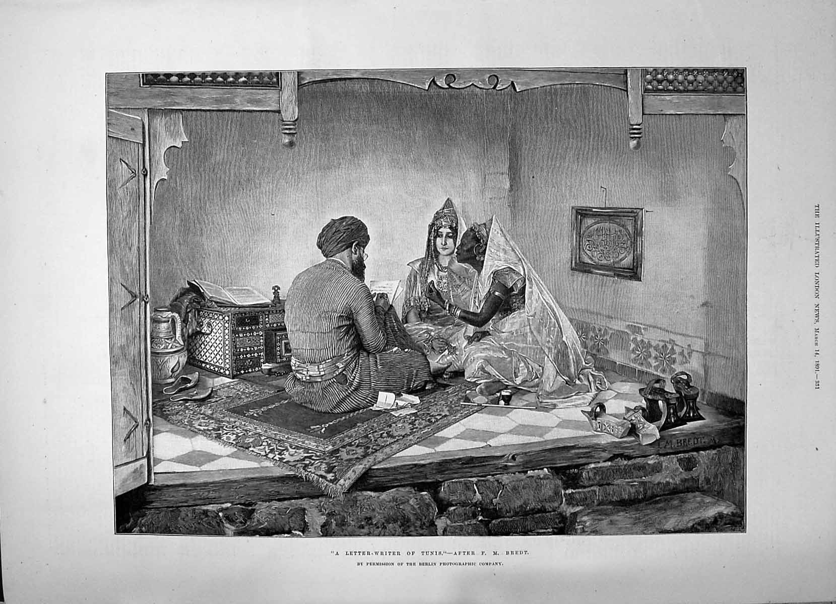 [Print 1891 Letter Writer Tunis North Africa Man Ladies Writing Bredt 351P198 Old Original]