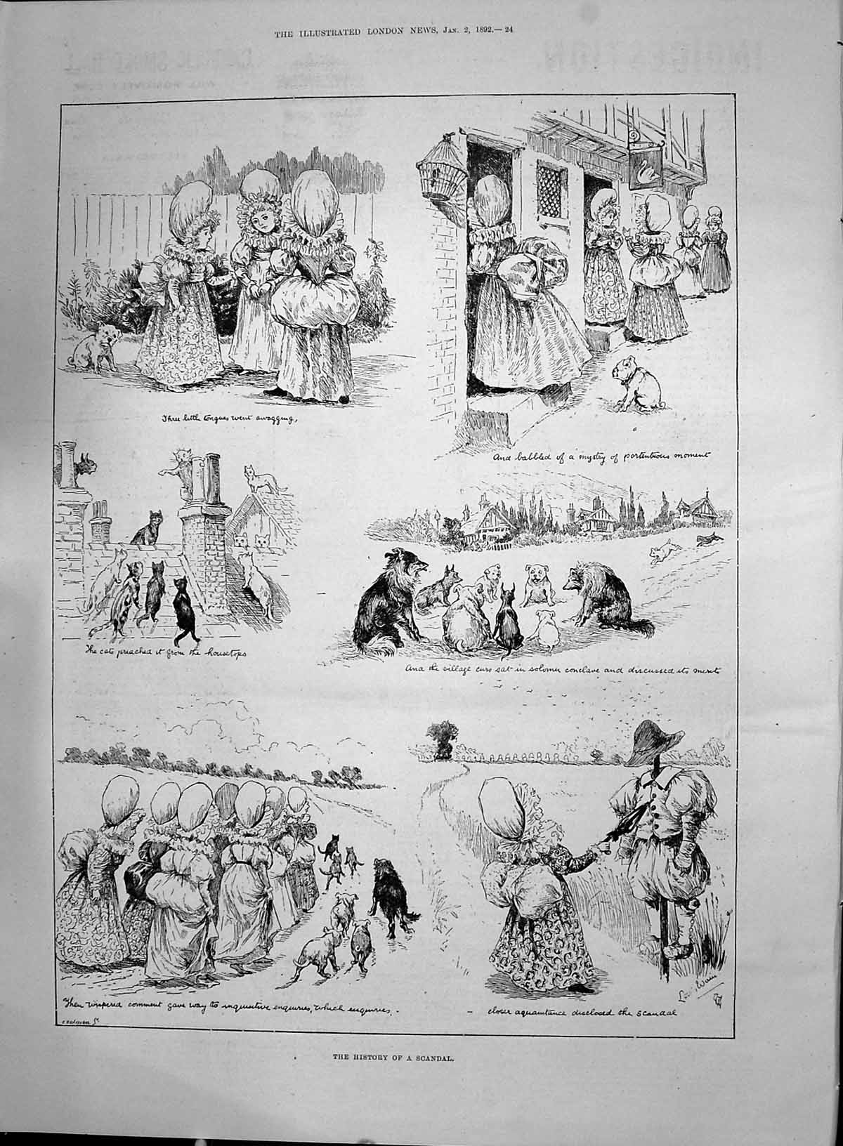 [Print 1892 History Scandal Story Dogs Cats Animals Louis Wain 024P200 Old Original]